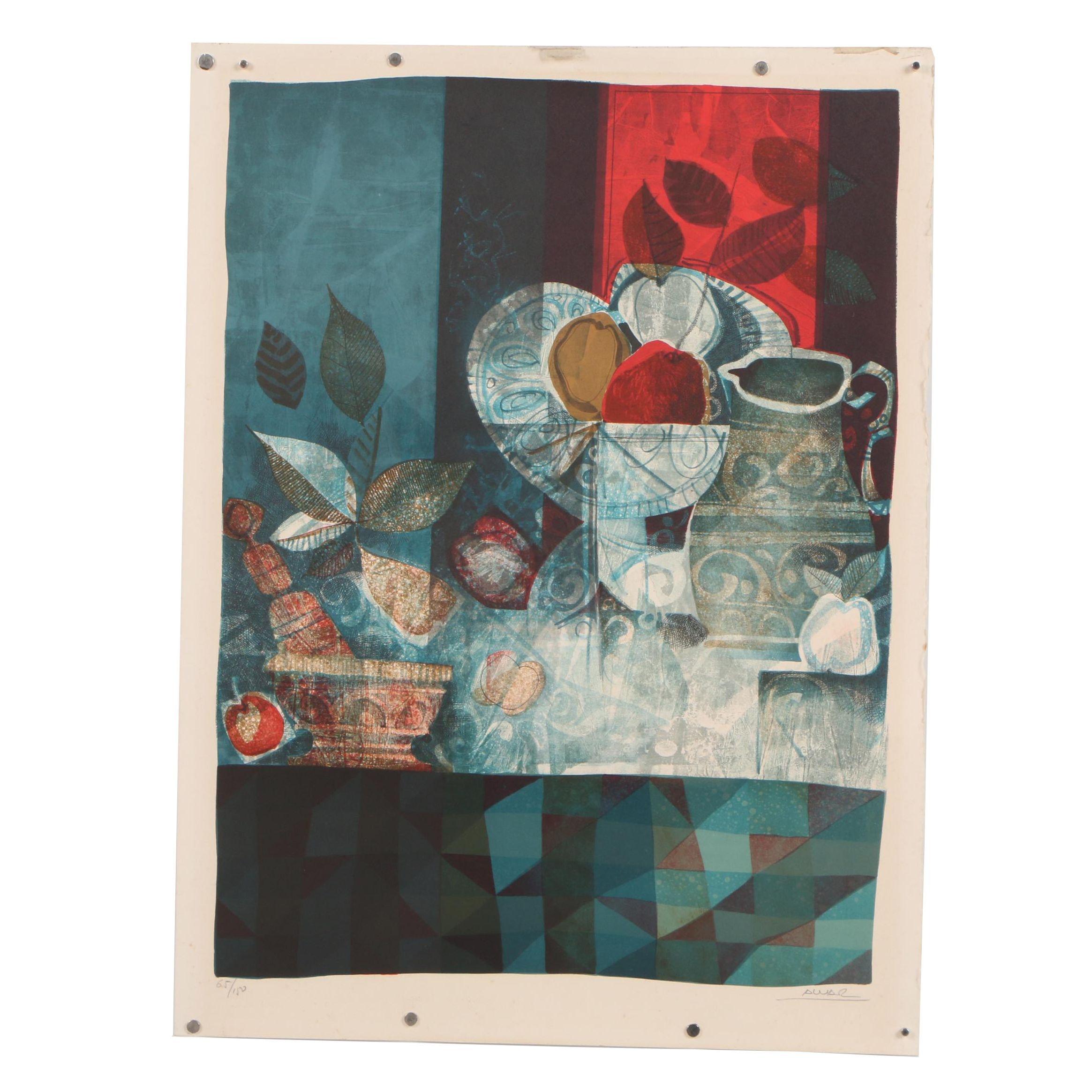 "Àlvar Suñol Munoz-Ramos Color Lithograph ""Still Life Blue"""