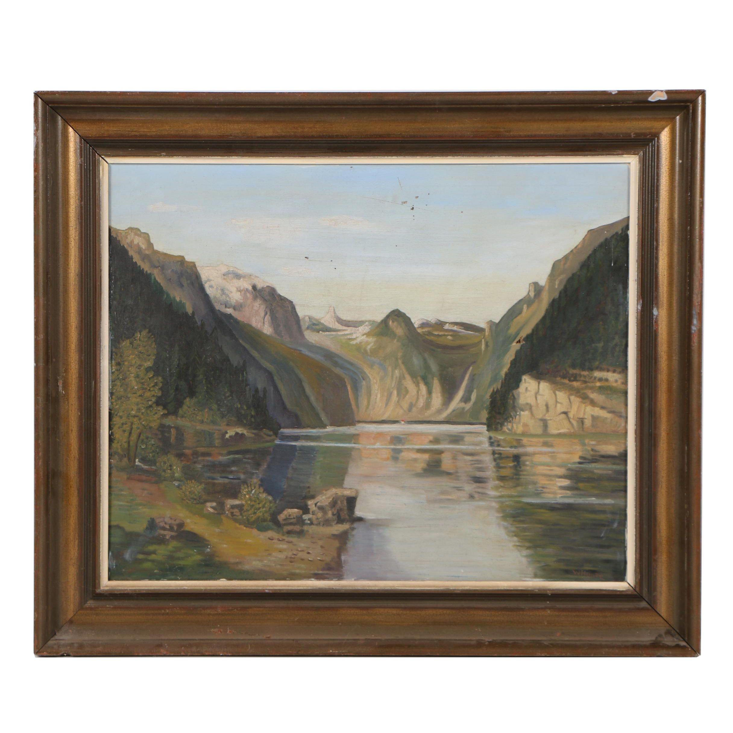 W. Heinze Landscape Oil Painting
