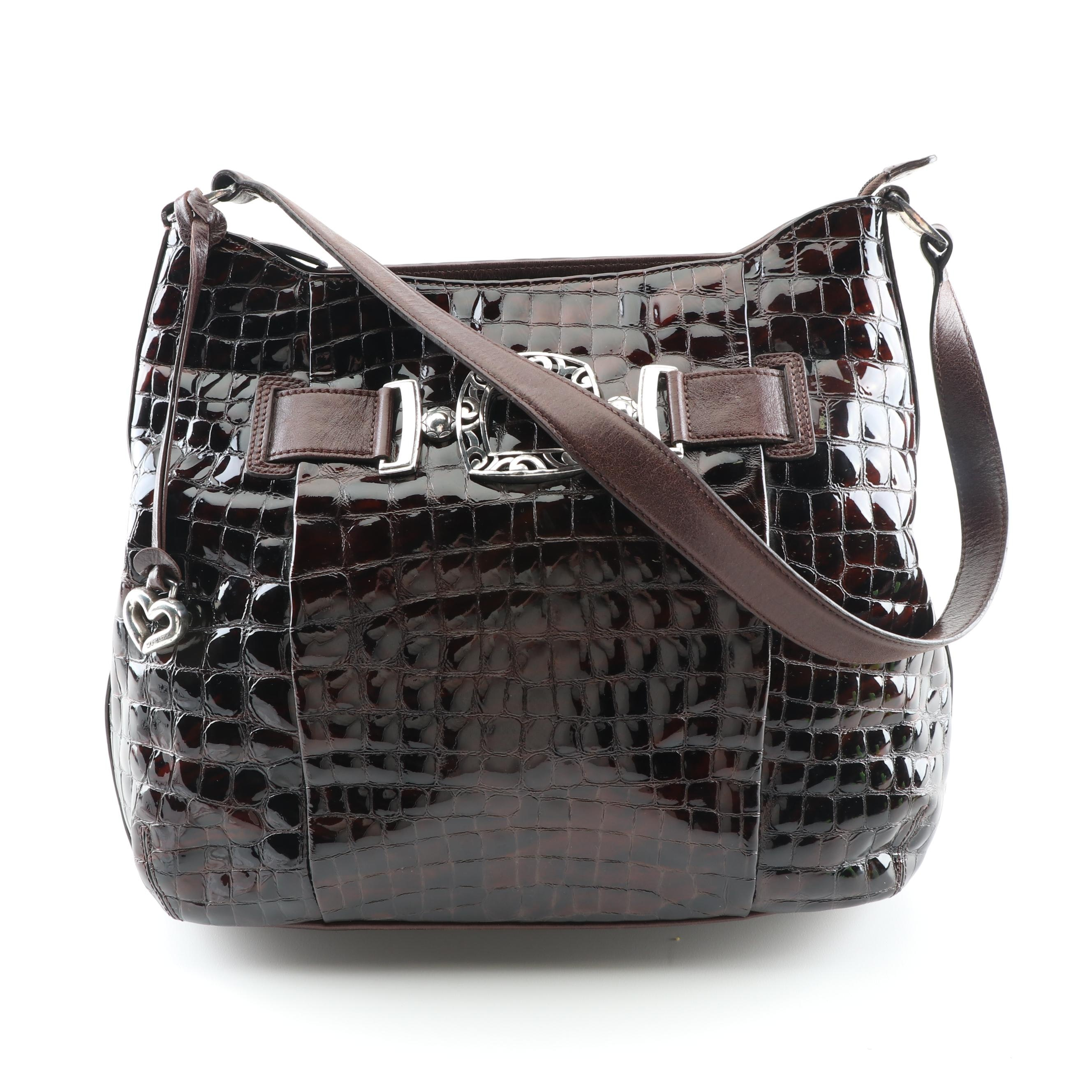 Brighton Crocodile Embossed Patent Leather Handbag