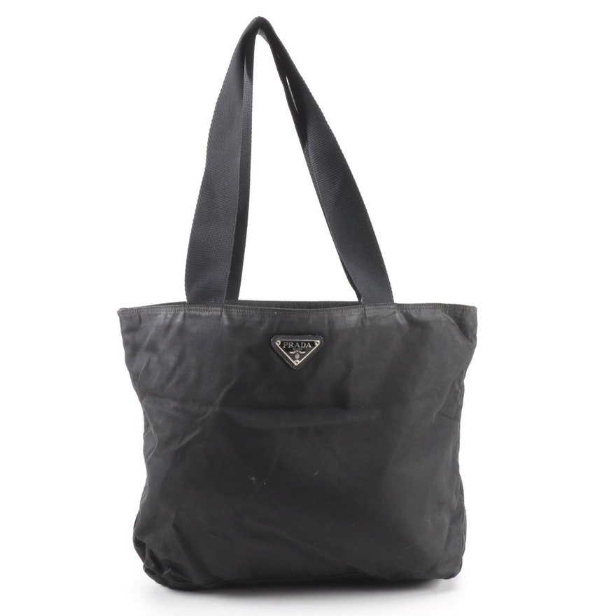 Prada Black Nylon Shoulder Tote   EBTH bf213fff10b5c