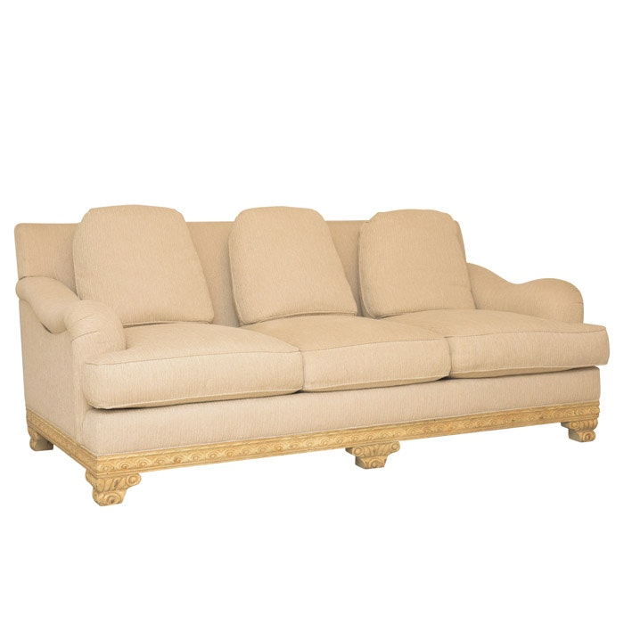 Upholstered Sofa with Carved Wood Frame by Hickory White, Late 20th Century
