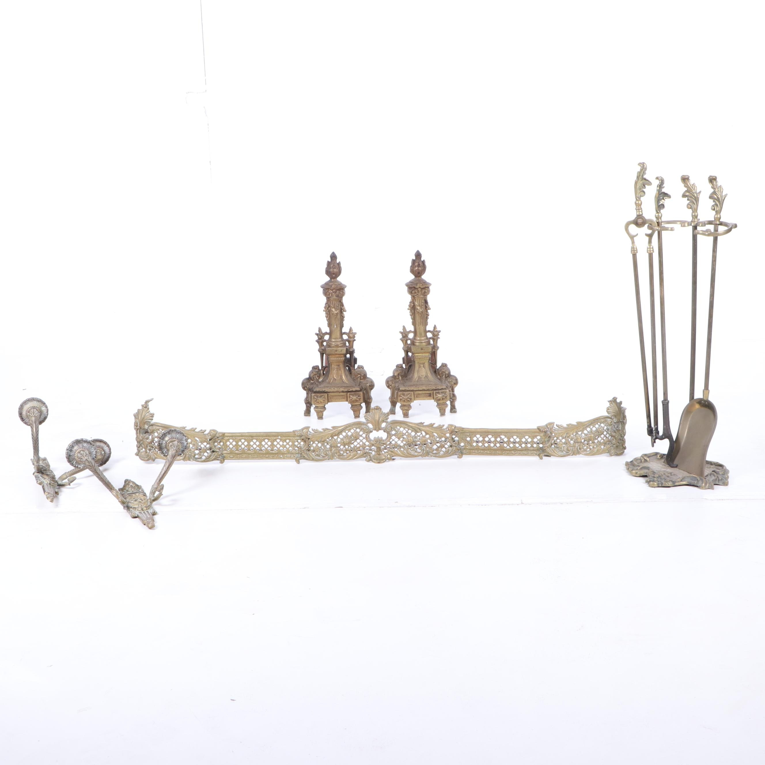 French Rococo Torch Andirons with Tool Set and Fender