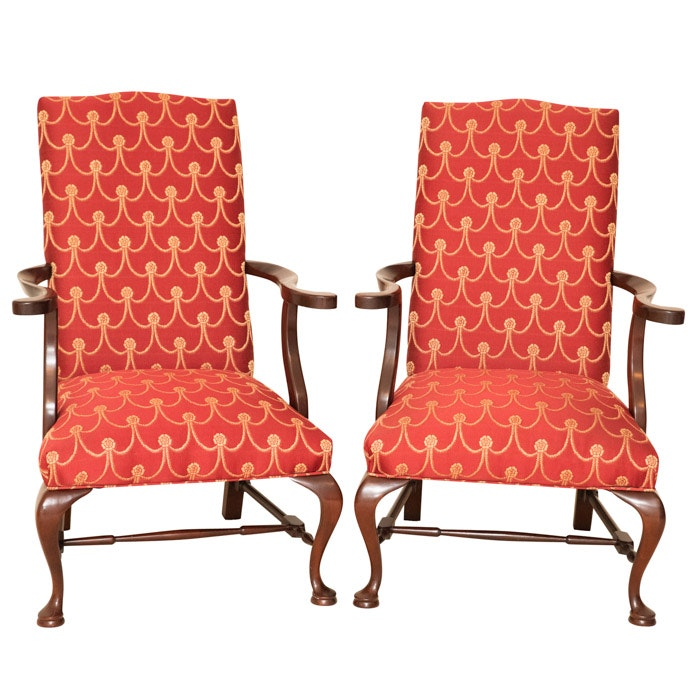 Queen Anne Style Upholstered Armchairs, 21st Century
