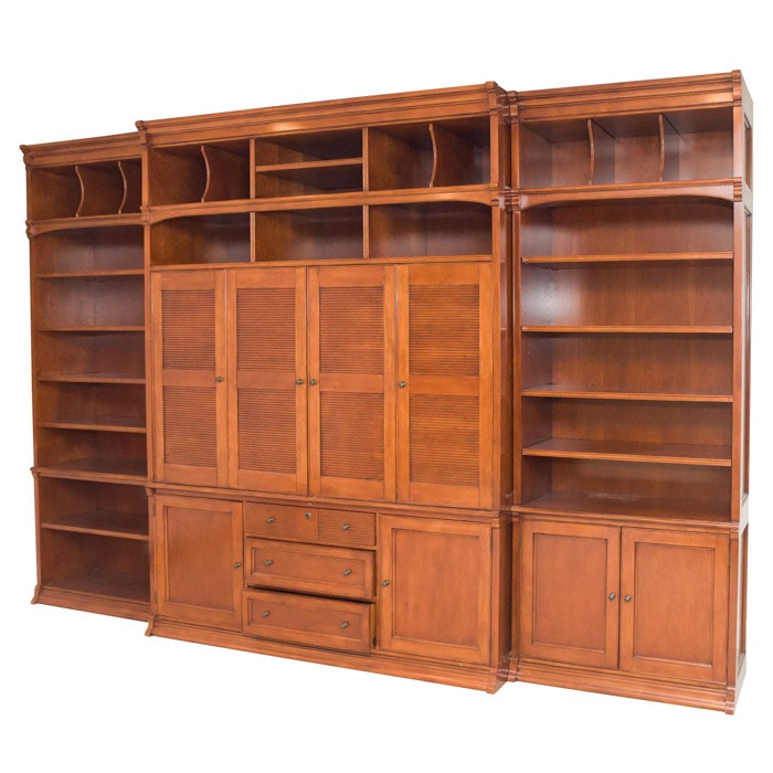 Three Piece Wall Unit Wooden Media Cabinet by Sligh, 21st Century