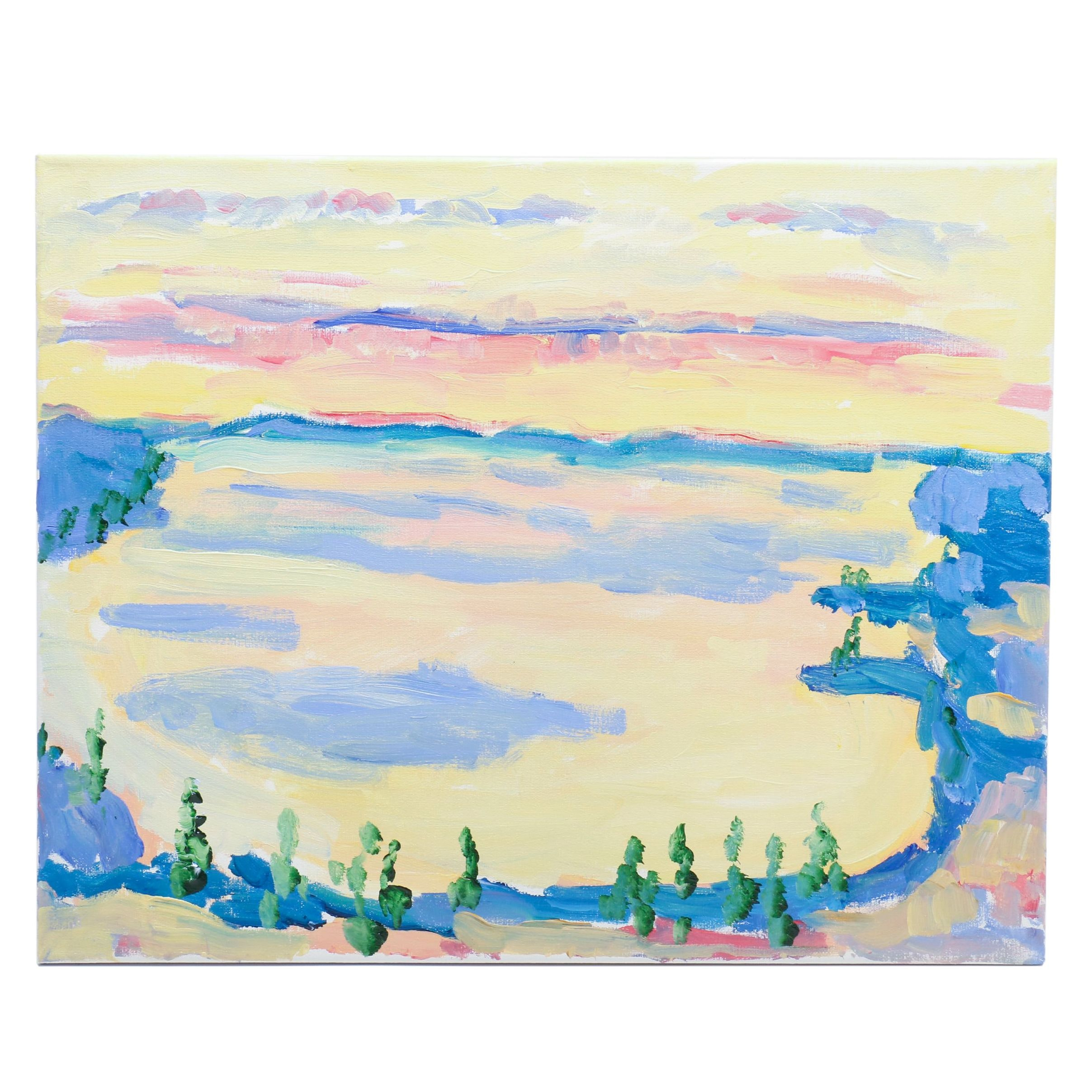 """Will Becker Acrylic Painting """"Portage Lake at Sunset From the Top of the Dune"""""""