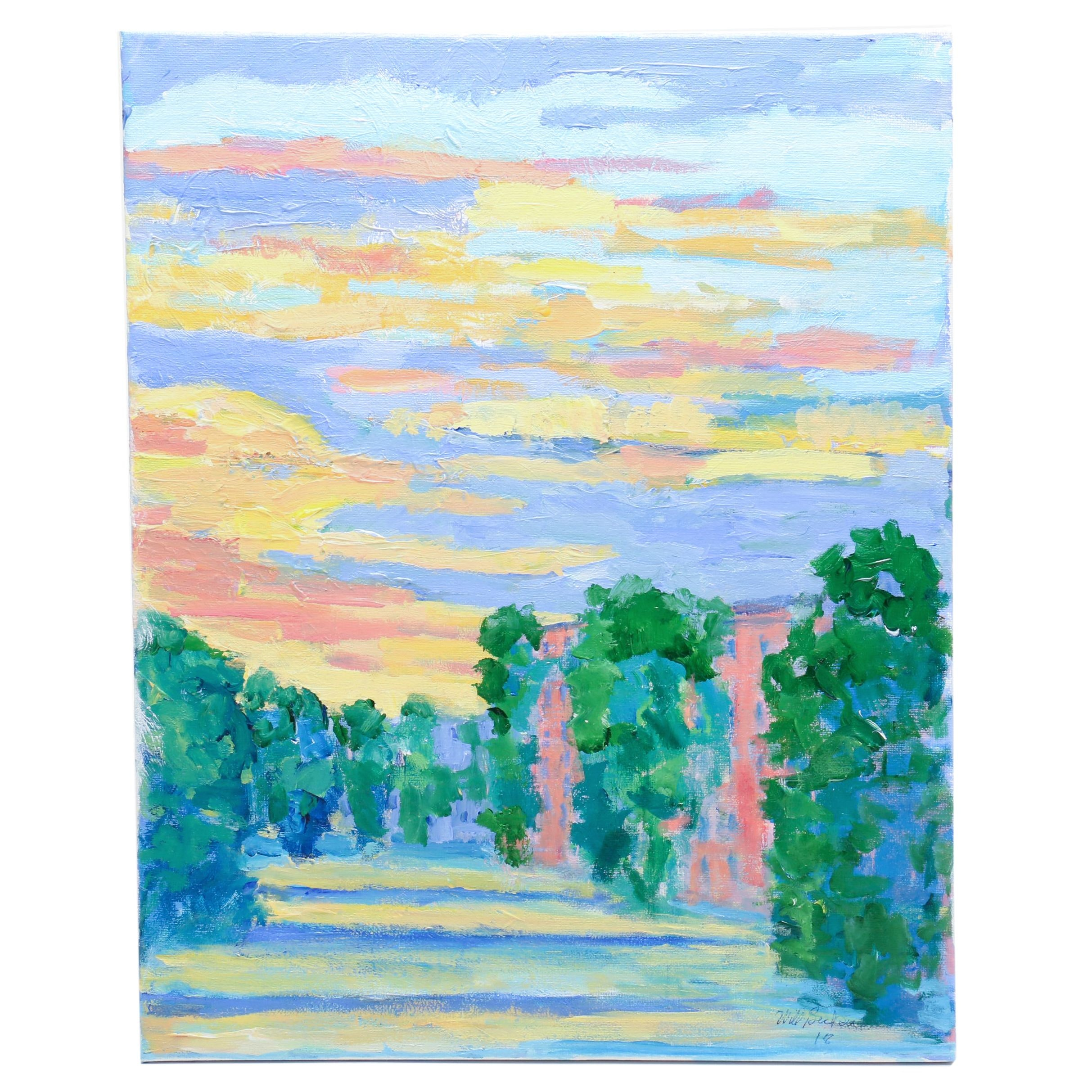 """Will Becker Acrylic Painting """"Sunset Over the Avenue"""""""