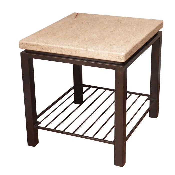 Stone Top Painted Metal End Table, 21st Century