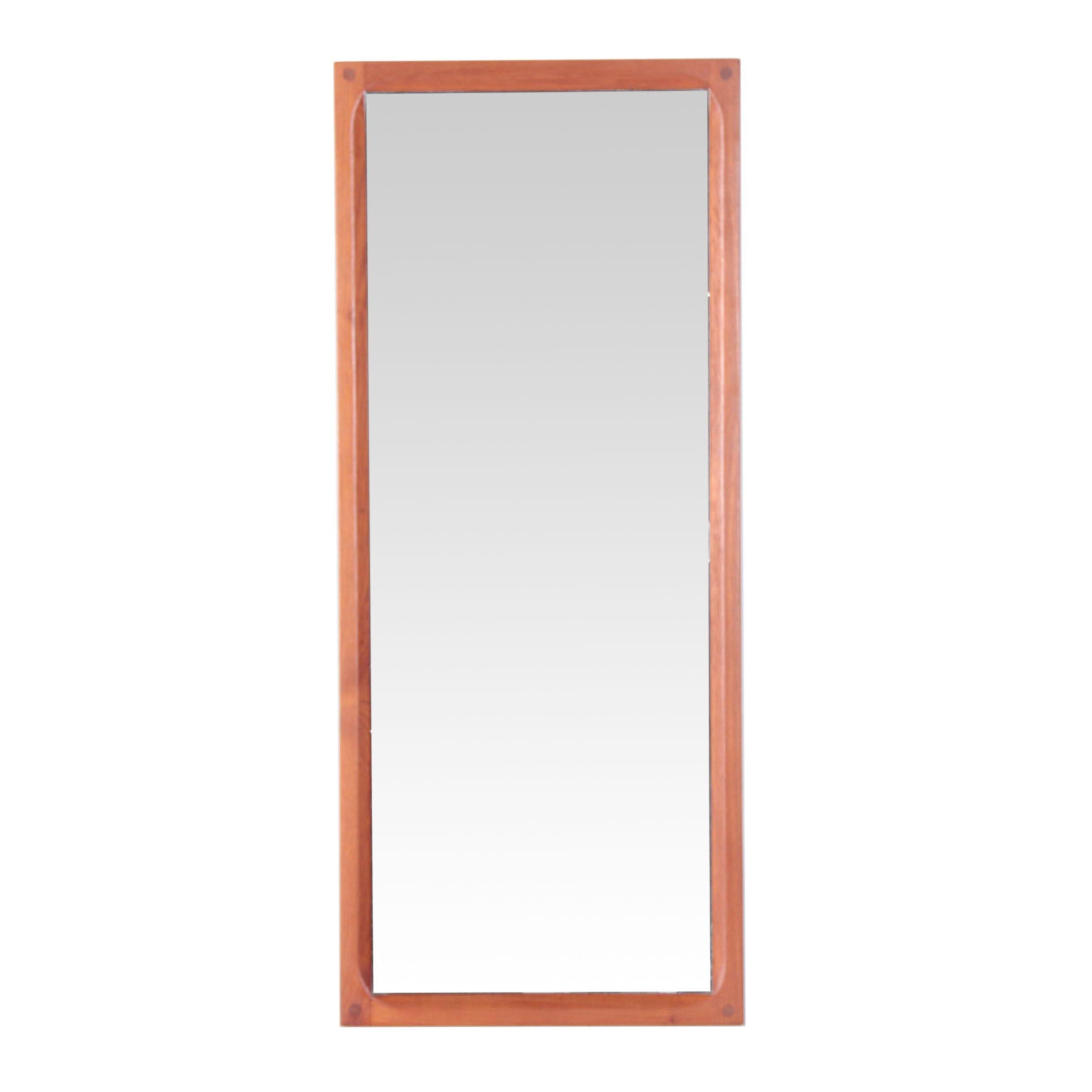 Danish Modern Aksel Kjersgaard Teak Rectangular Mirror and Sculpted Frame, 1960s