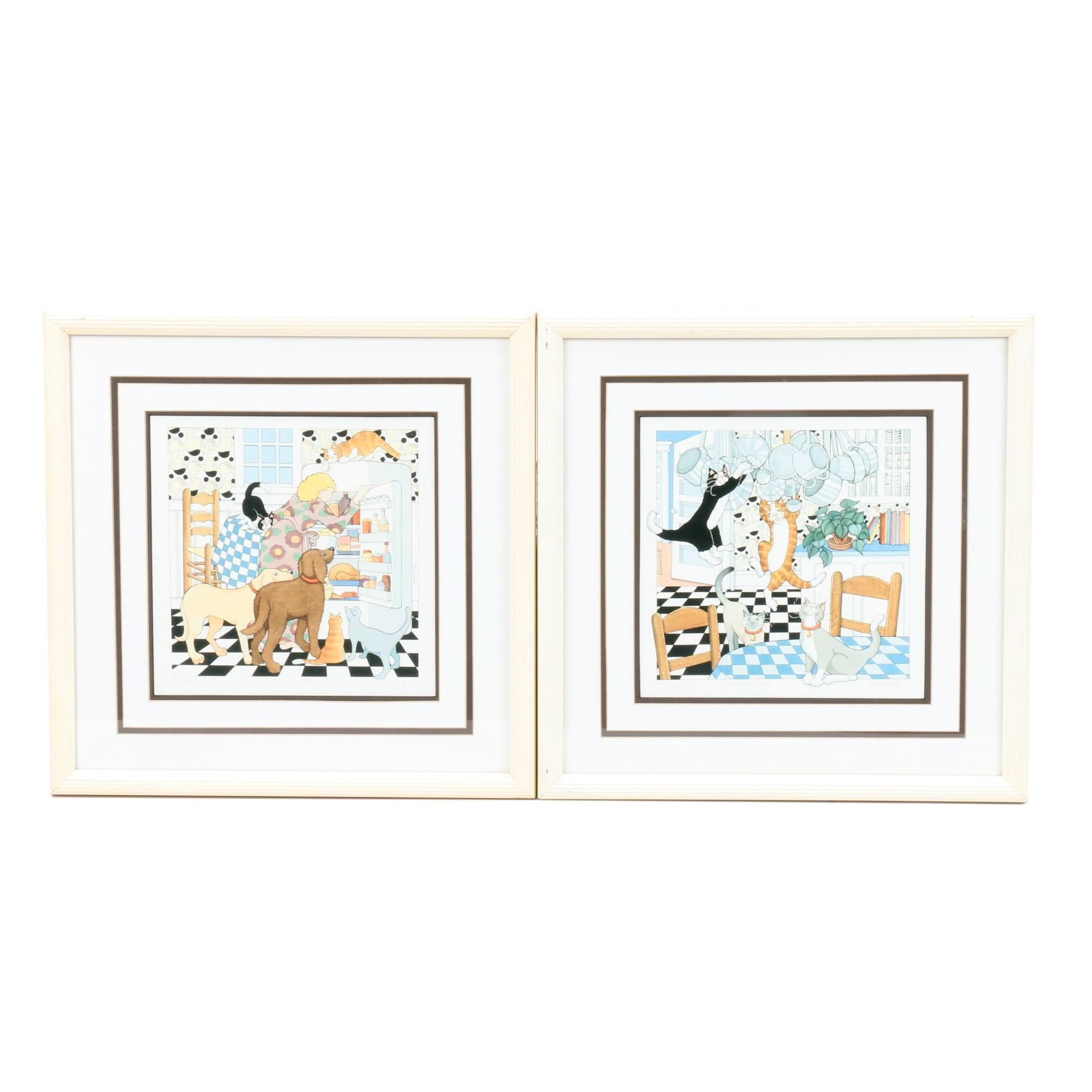 "Frances Greenberg Limited Edition Offset Lithographs ""Snack Time"" and ""Acrobats"""