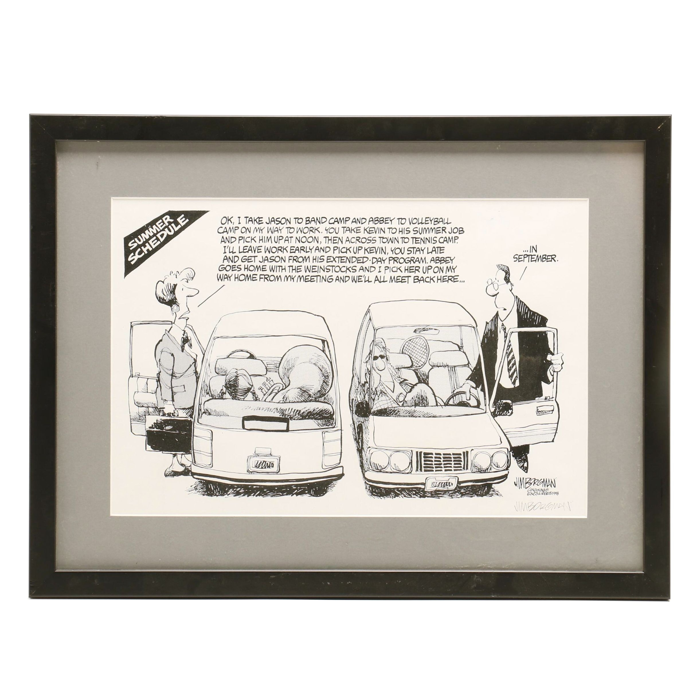 Lithographic Reproduction after Jim Borgman 1998 Cartoon Illustration