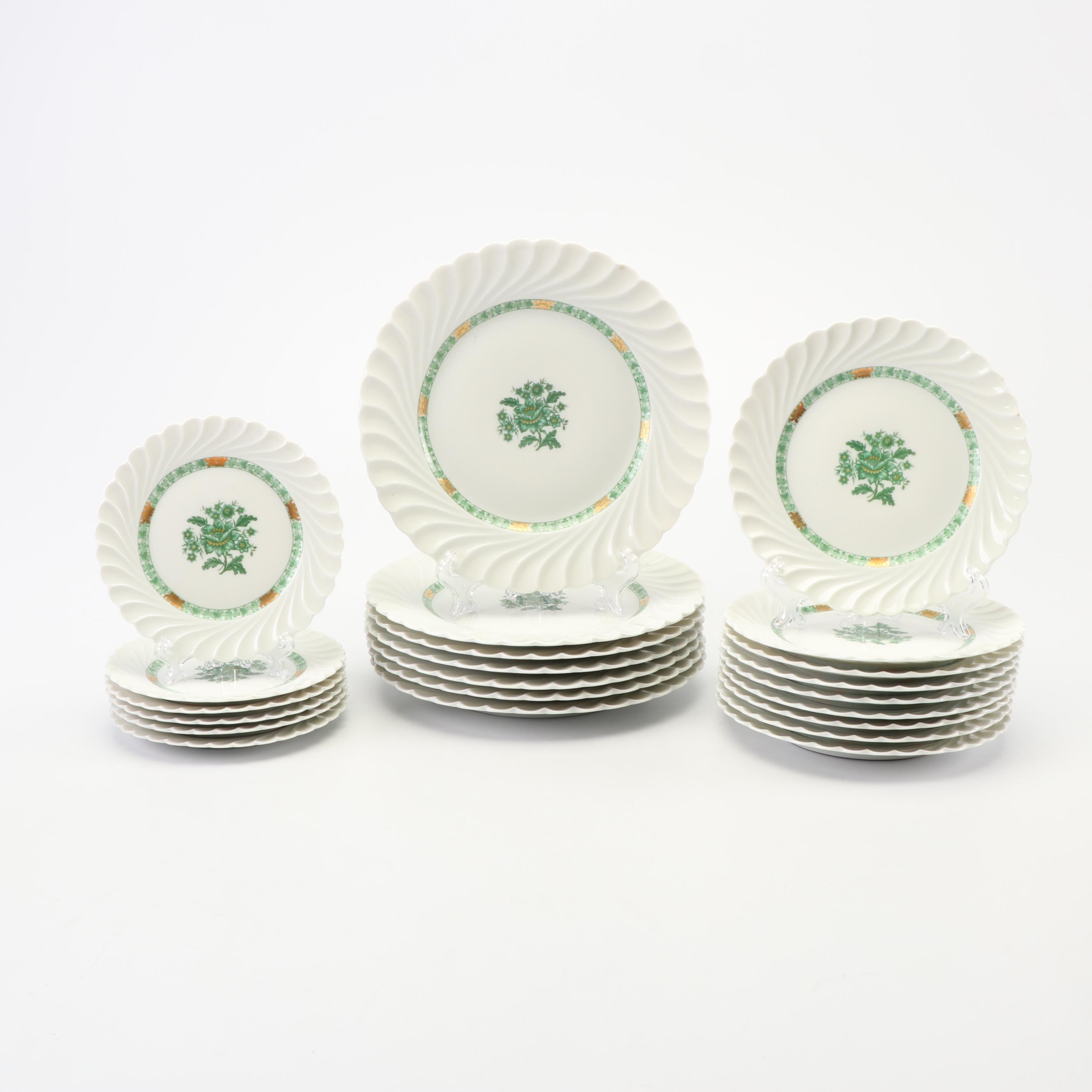 Vintage Haviland Green Floral Porcelain Plates