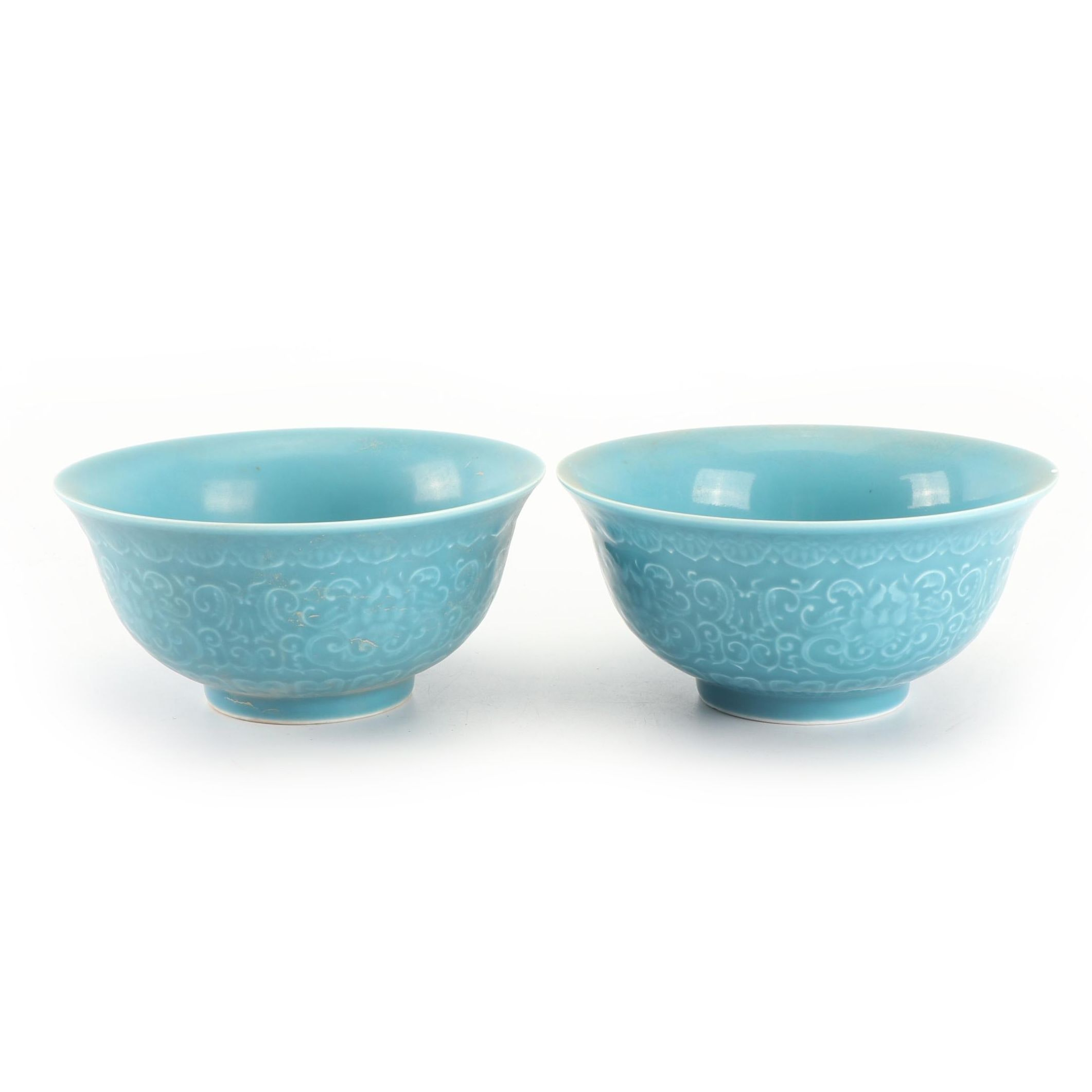 Chinese Turquoise Glazed Rice Bowls