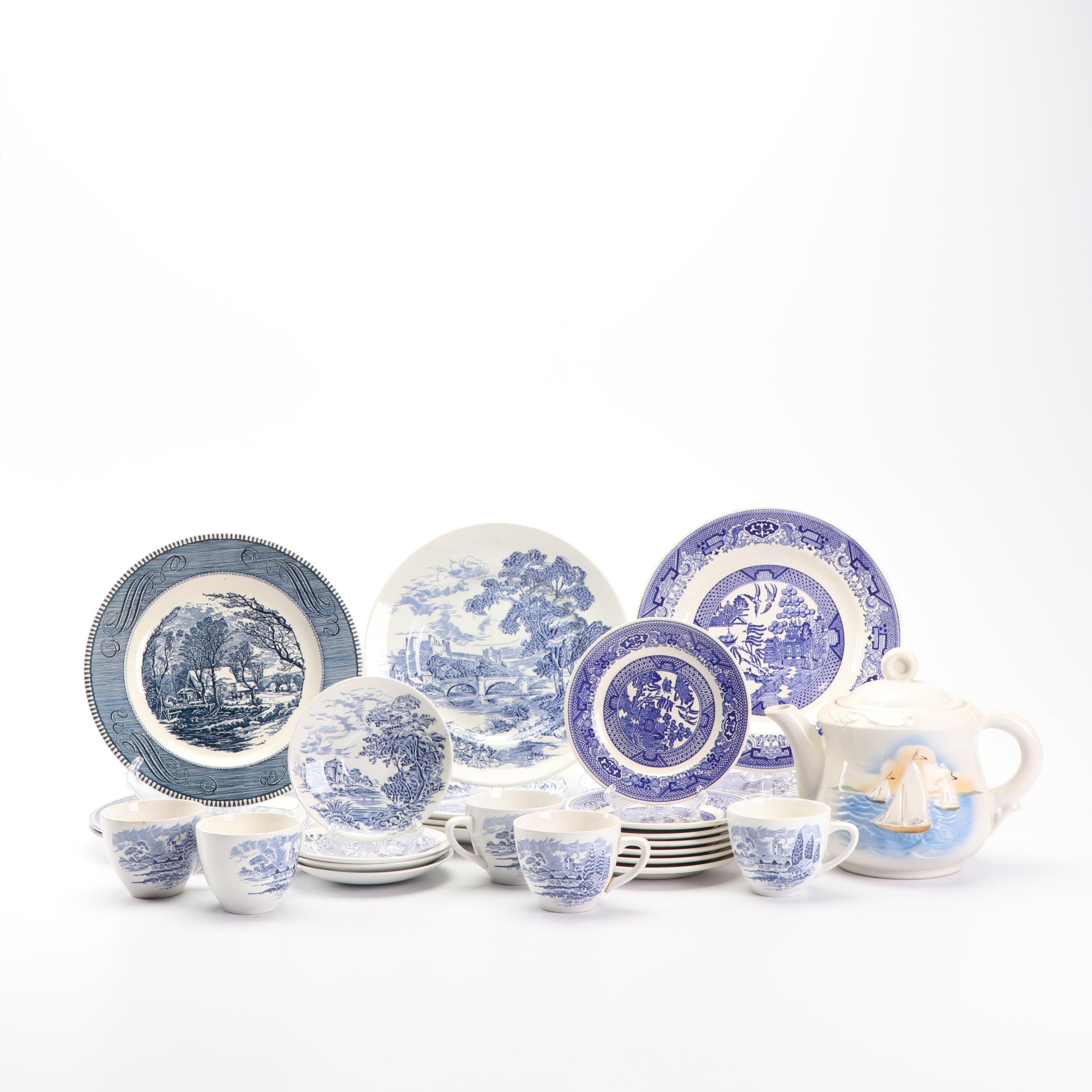 """Blue and White China Tableware Including """"Countryside"""" Dishes by Wedgwood"""