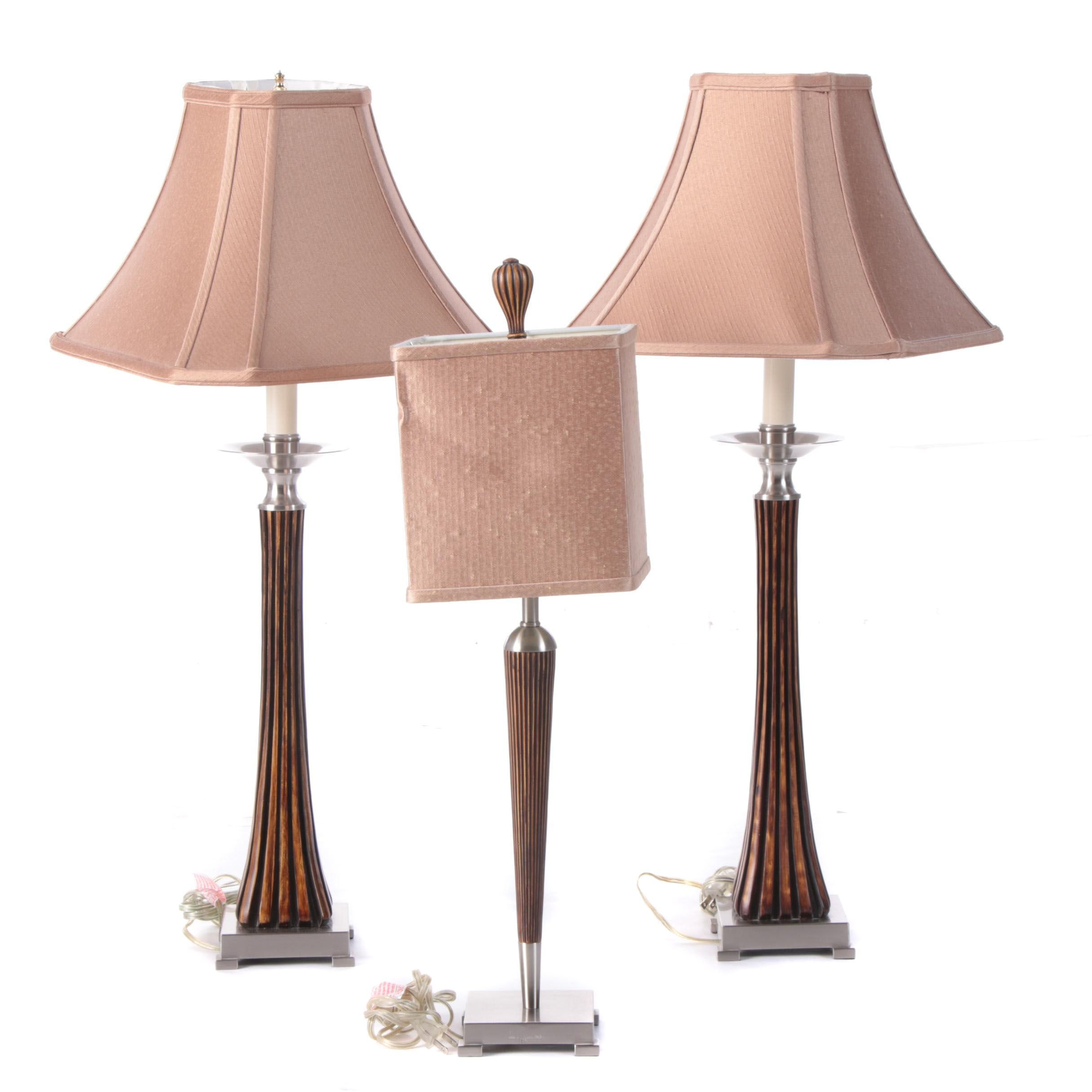 Uttermost Reeded Console Lamps and Table Lamp with Shades