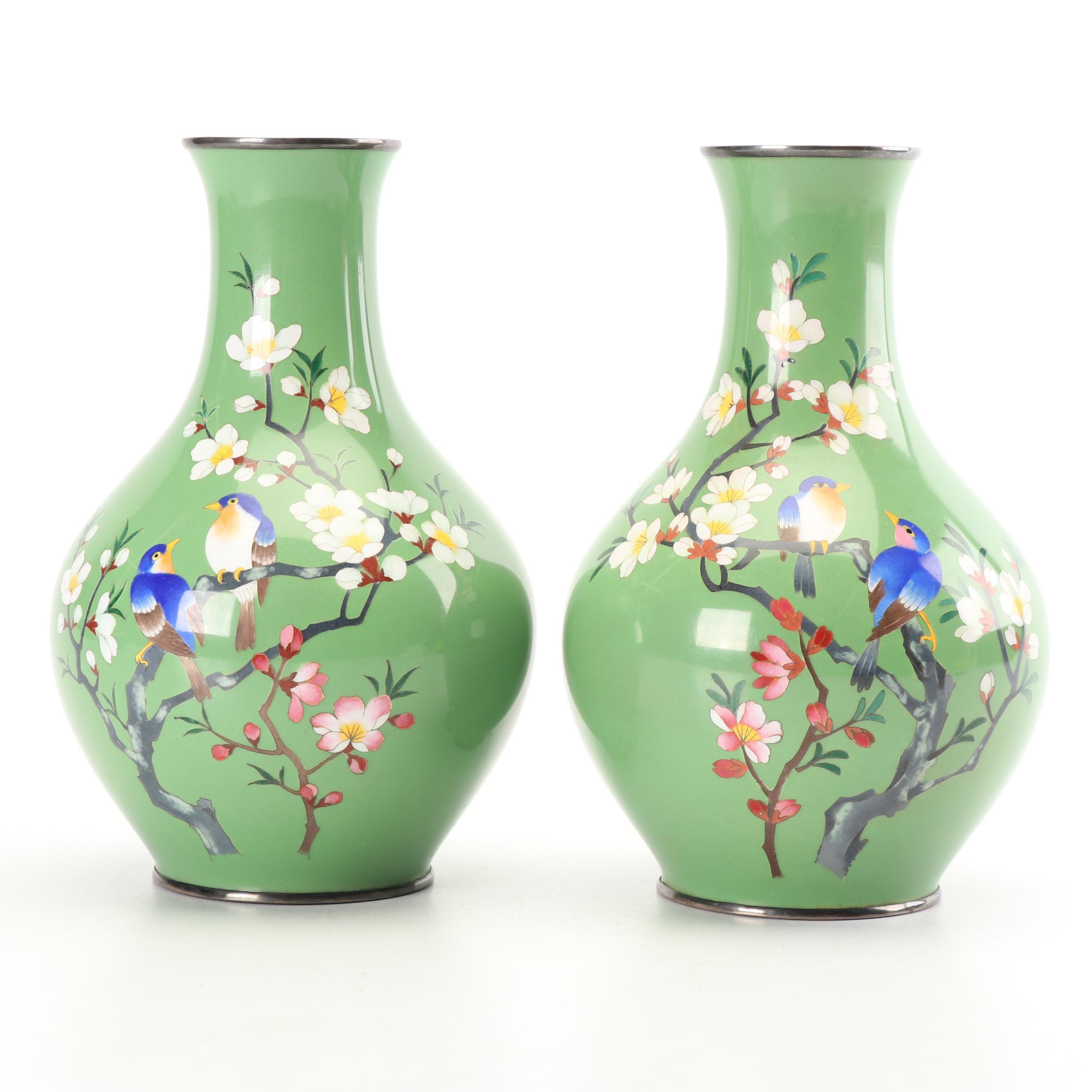 Chinese Plum Blossom Motif Cloisonné Vases