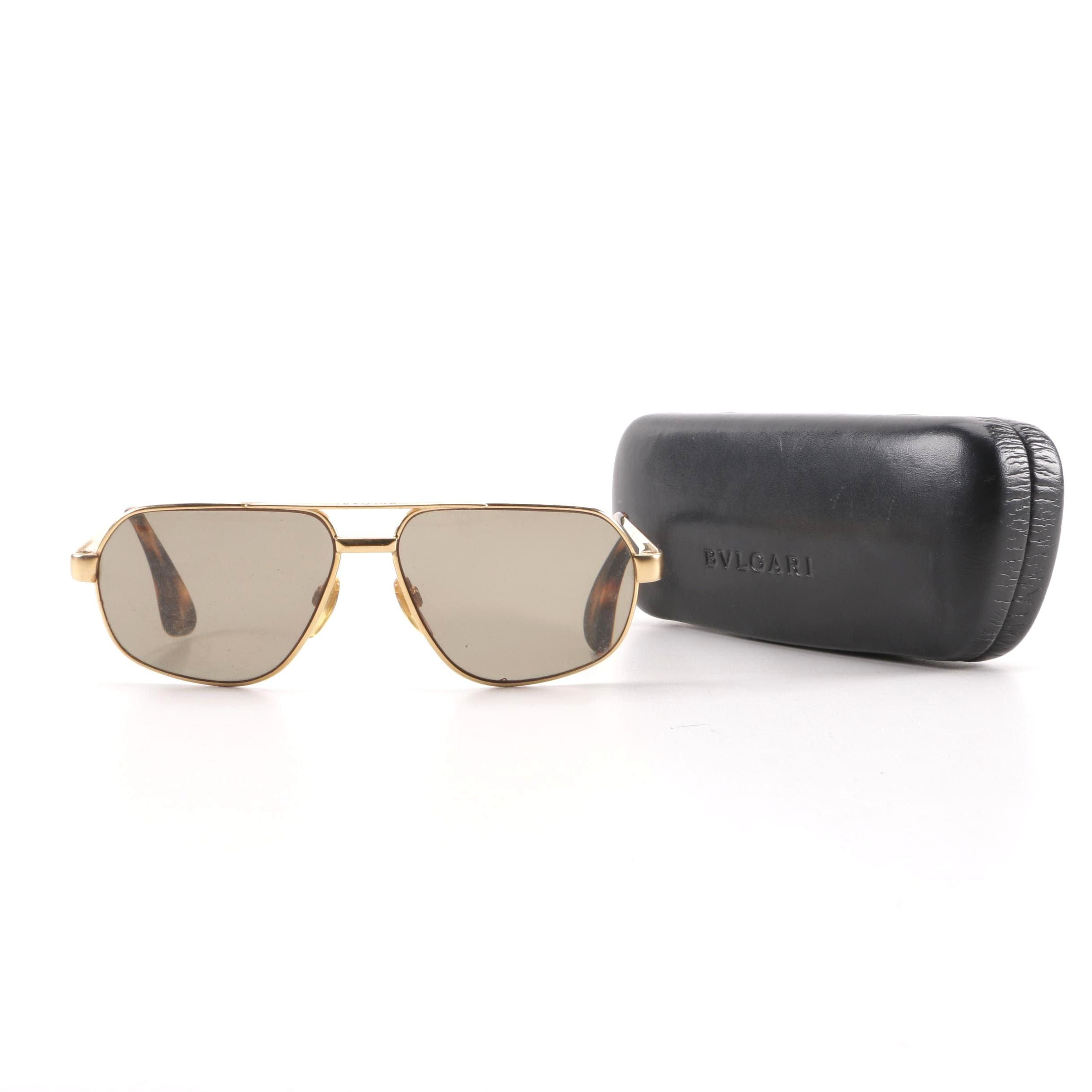 BVLGARI Gold Tone Aviator Prescription Sunglasses with Case, Made in Italy
