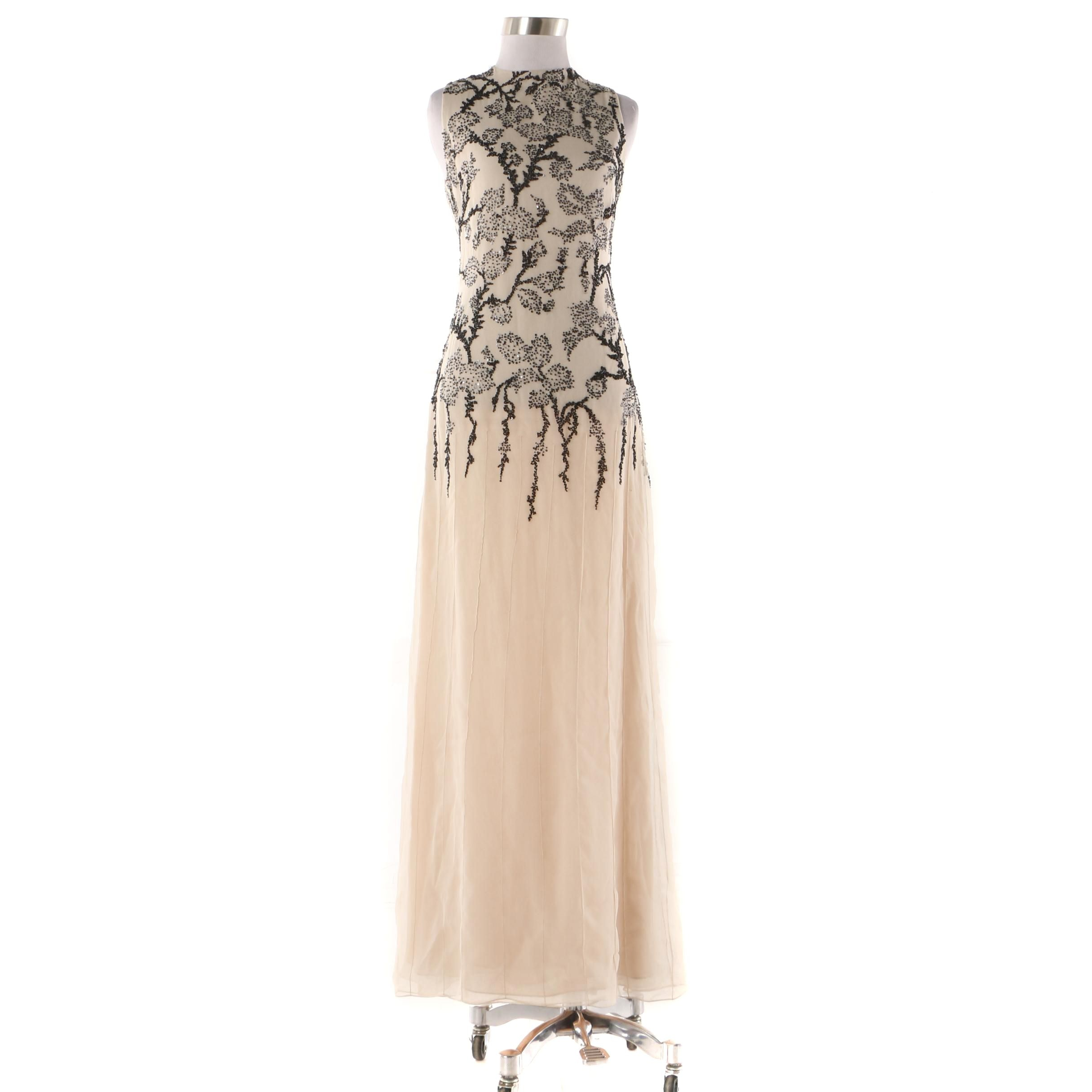 Vera Wang Champagne Silk Sleeveless Evening Dress with Black Foliate Beading