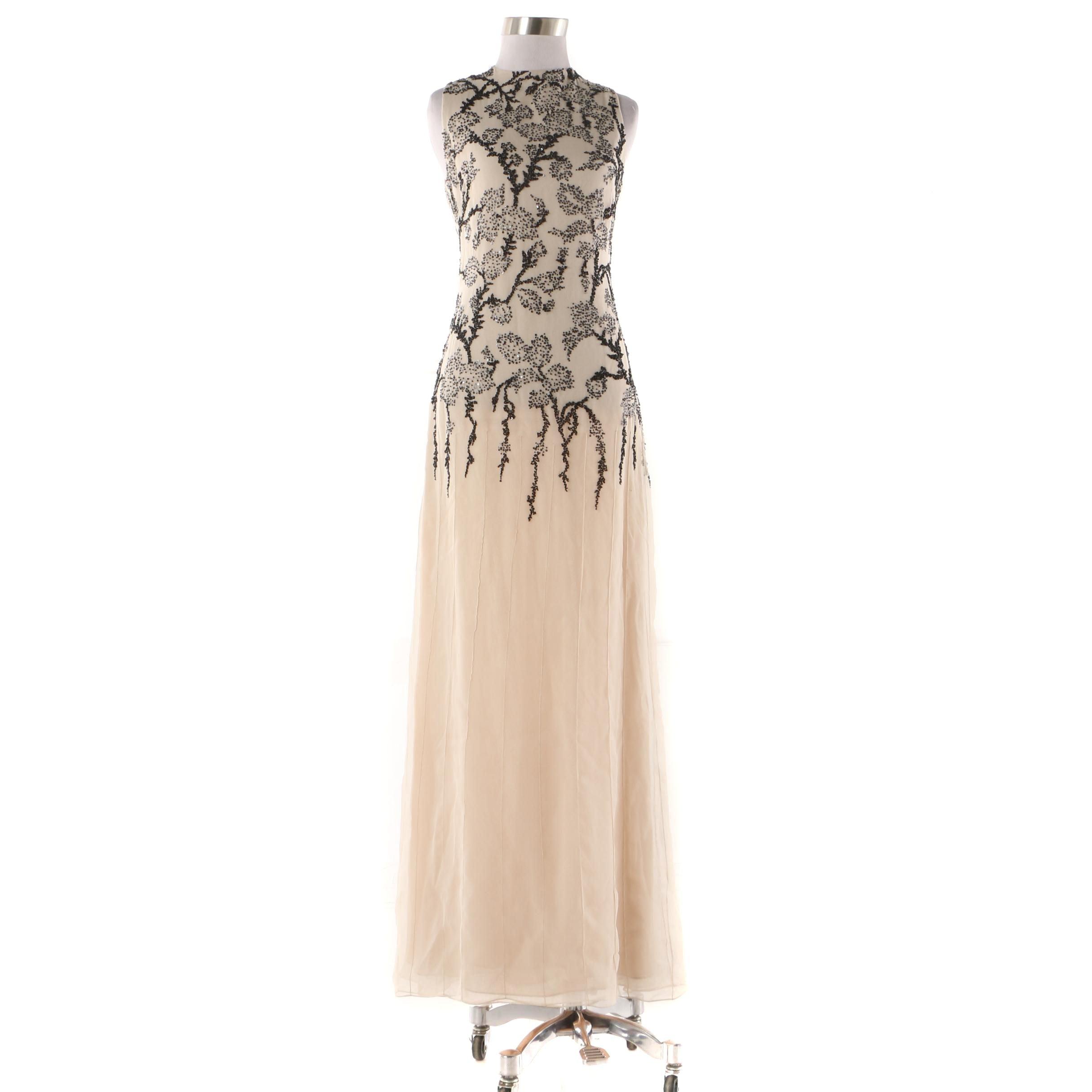 Vera Wang Champagne Silk Sleeveless Evening Dress with Black Foliate Beading