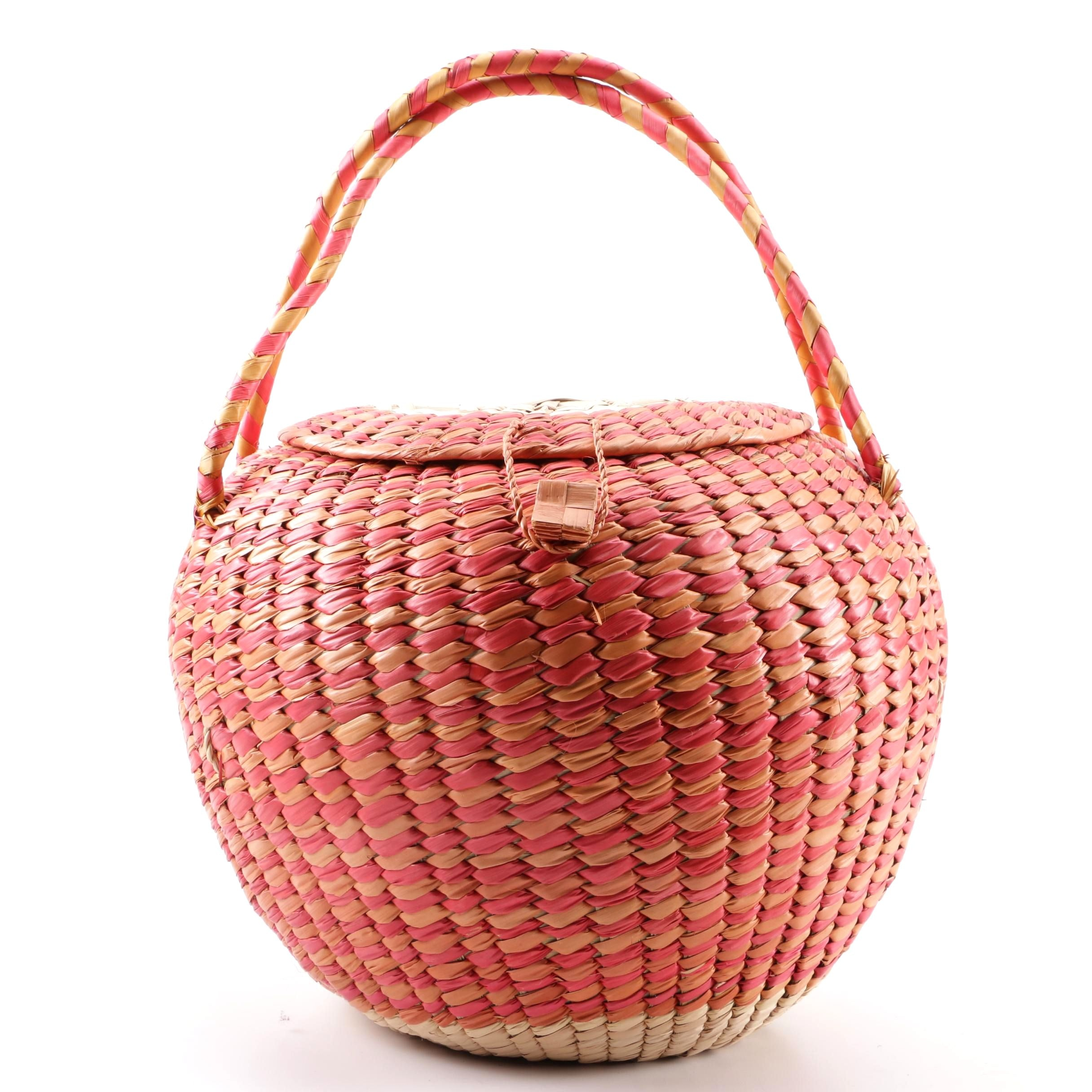 Handwoven Dyed Natural Fiber Raffia Basket Purse with Dual Handles