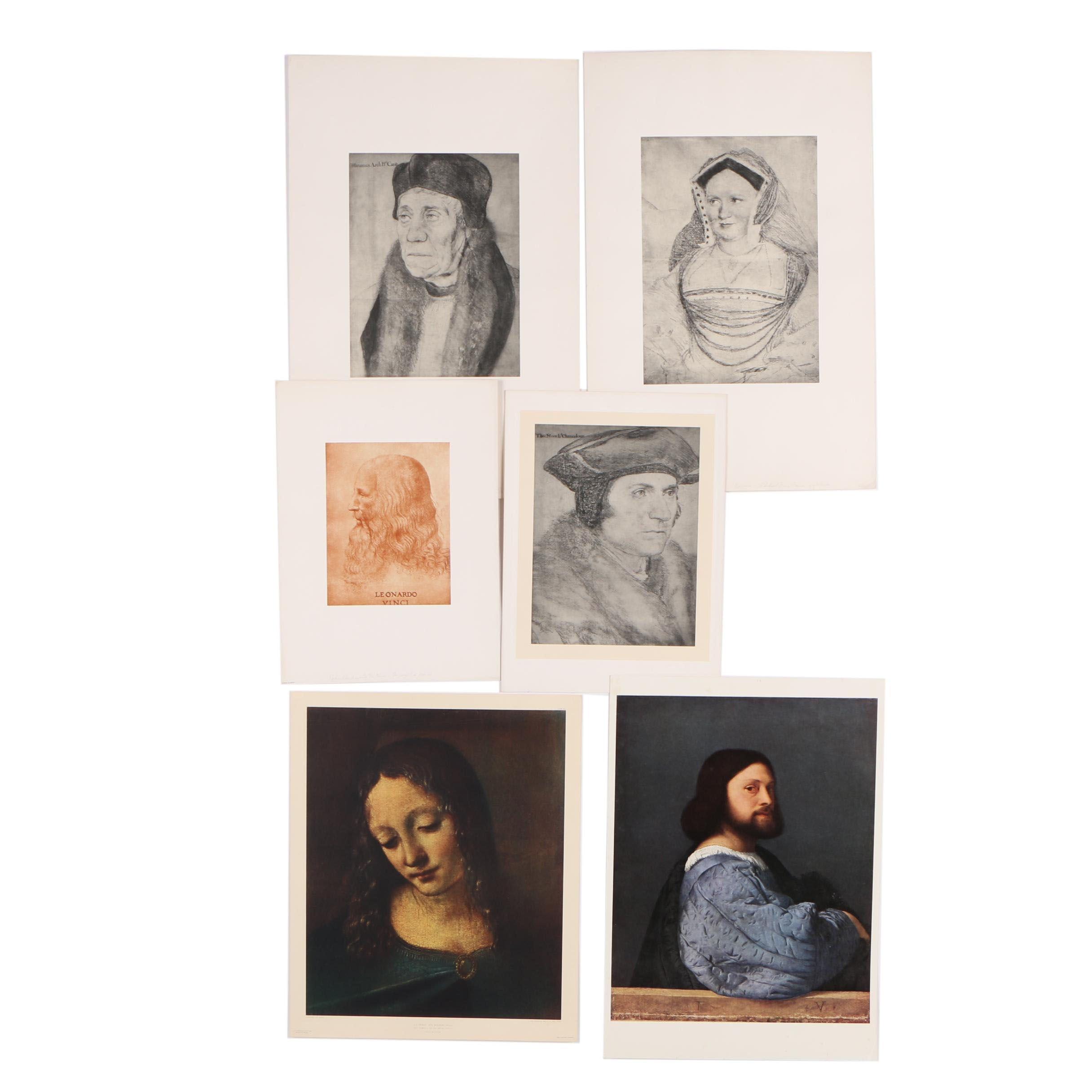 Reproduction Prints after Leonardo Da Vinci, Hans Holbein and Tiziano Titian