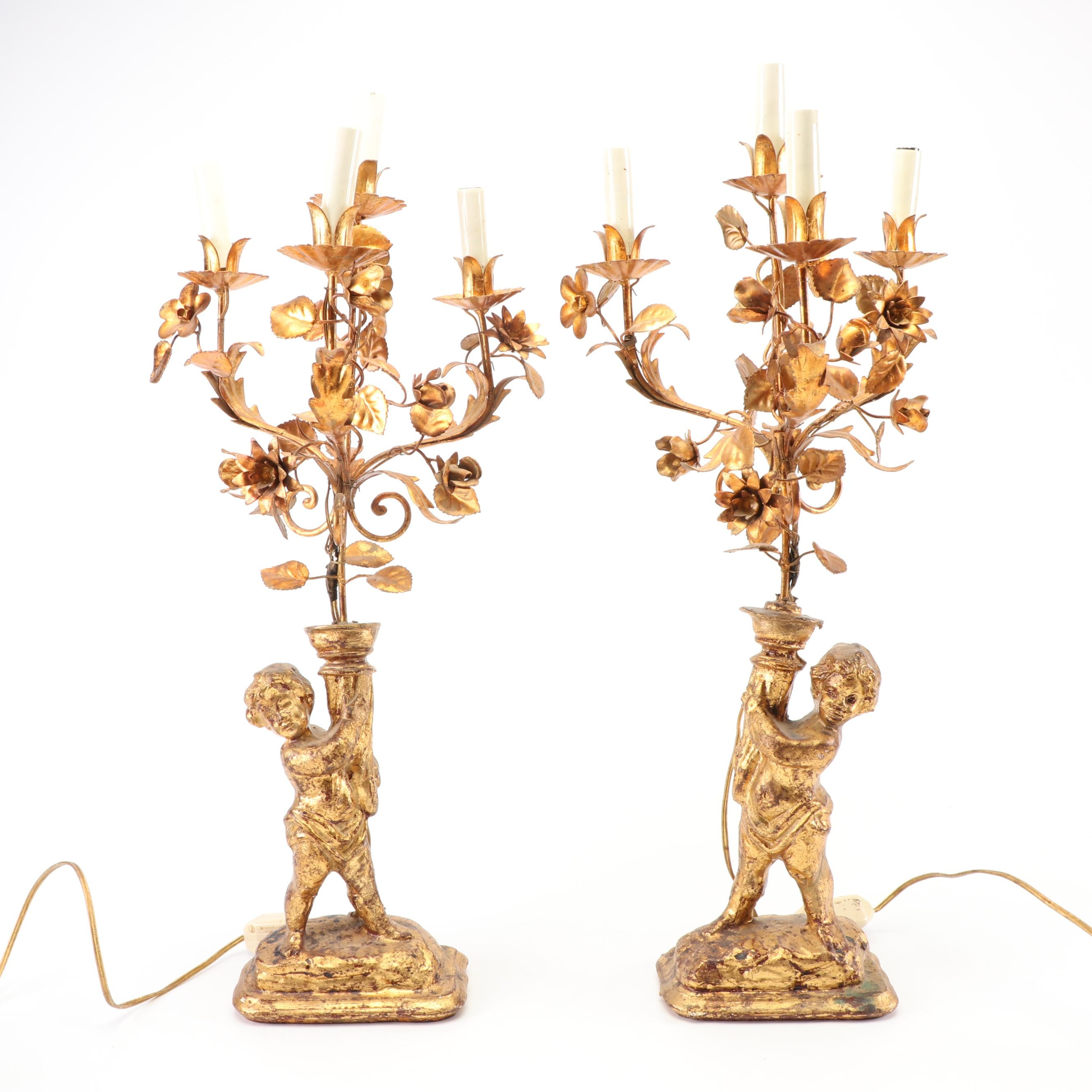 Figural Tole Candelabra Table Lamps