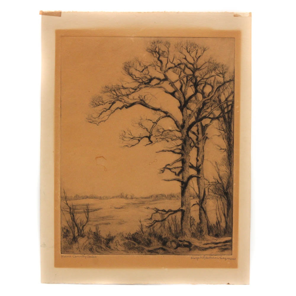 "Ralph Fletcher Seymour Etching ""Kane County Oaks"""
