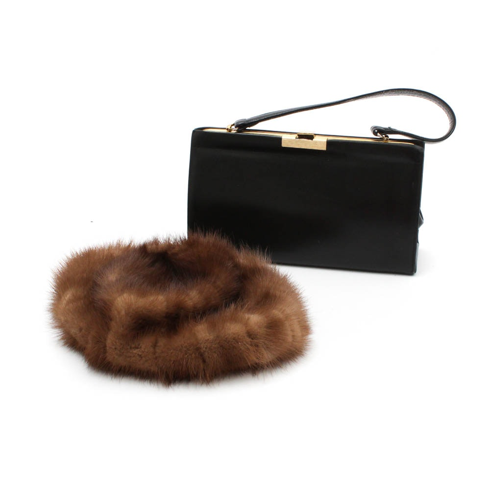 Mr. Jules Creation Mink Fur Hat and Bon Gout Black Leather Frame Handbag