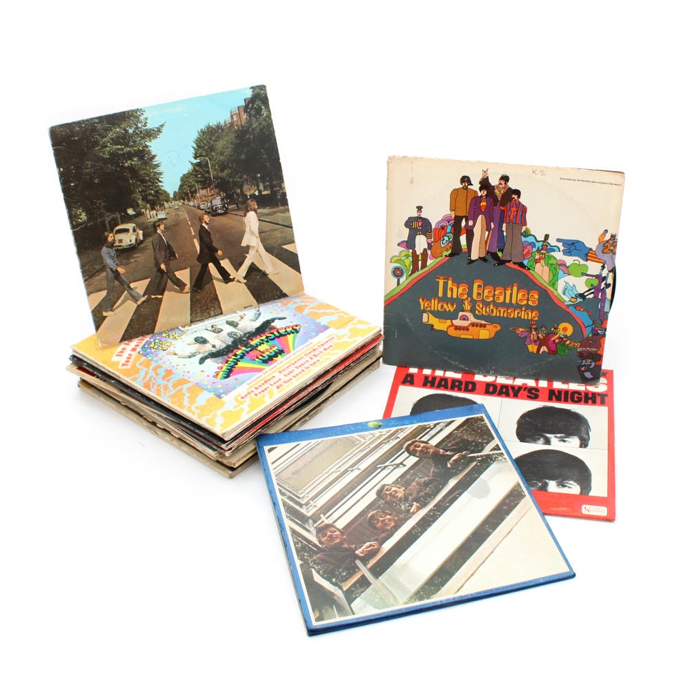 Beatles Vinyl Records and Poster