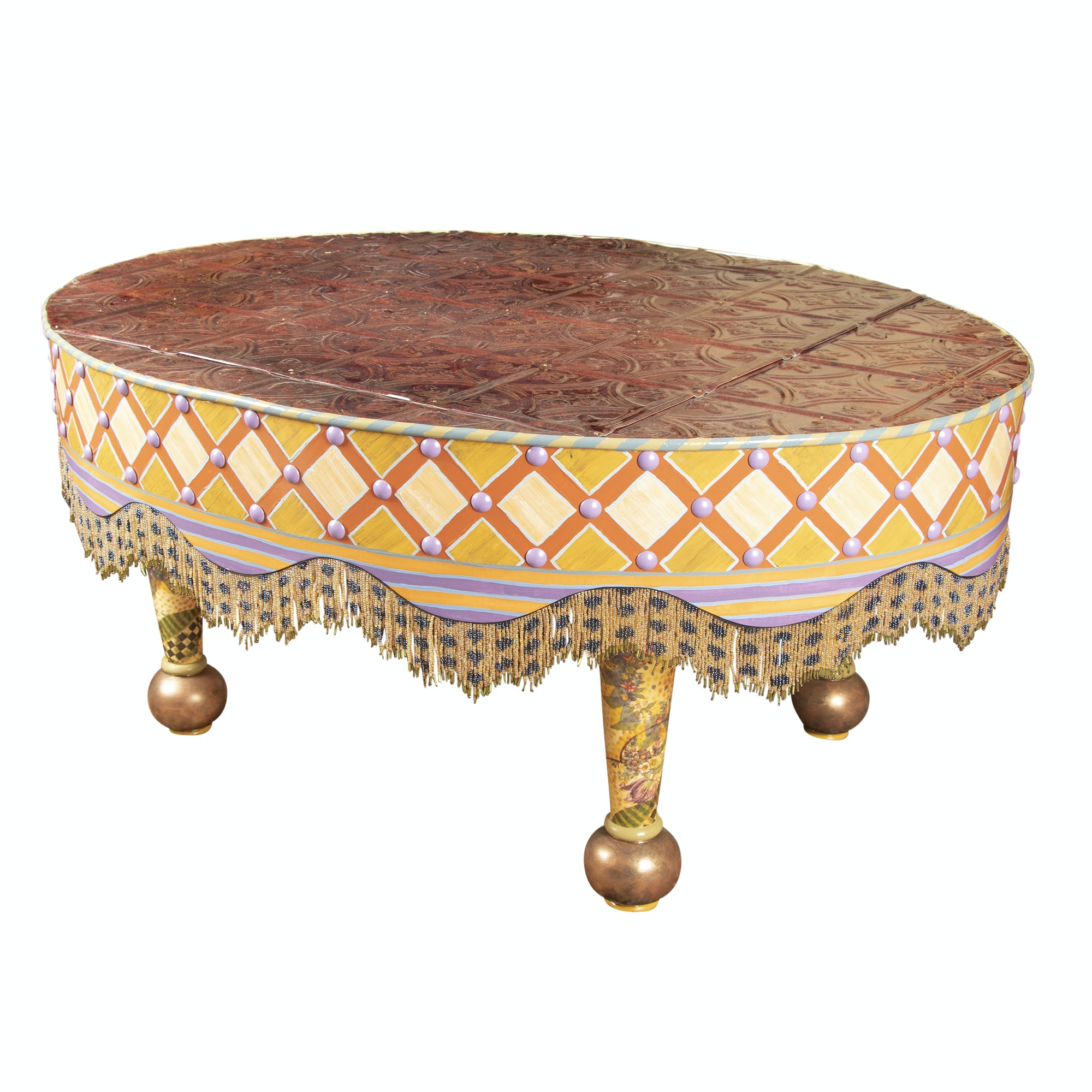 MacKenzie-Childs Hand-Painted Wooden Cocktail Table, 20th/21st Century