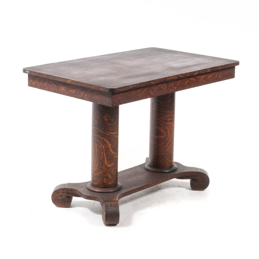 Oak Late Empire Style Double Pedestal Library Table, Late 19th or early 20th c.