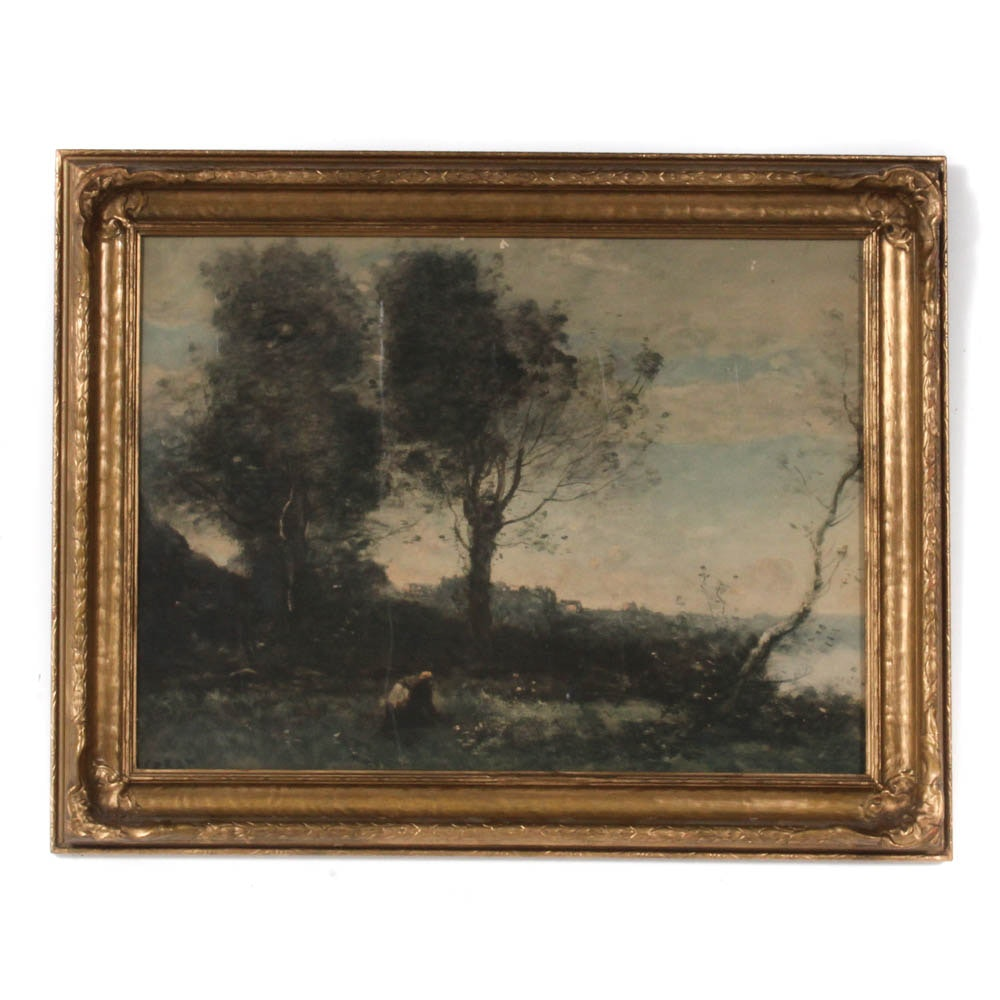 Antique Lithograph after Corot