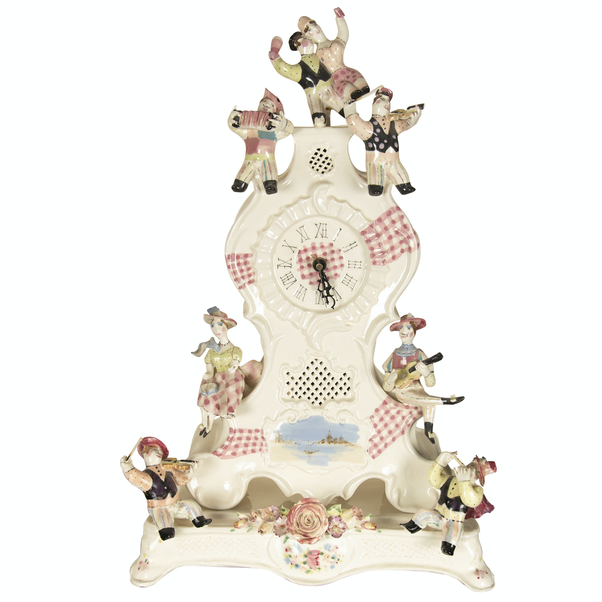 Noi Volkov Cast and Hand-Painted Porcelain Mantel Clock with Figures