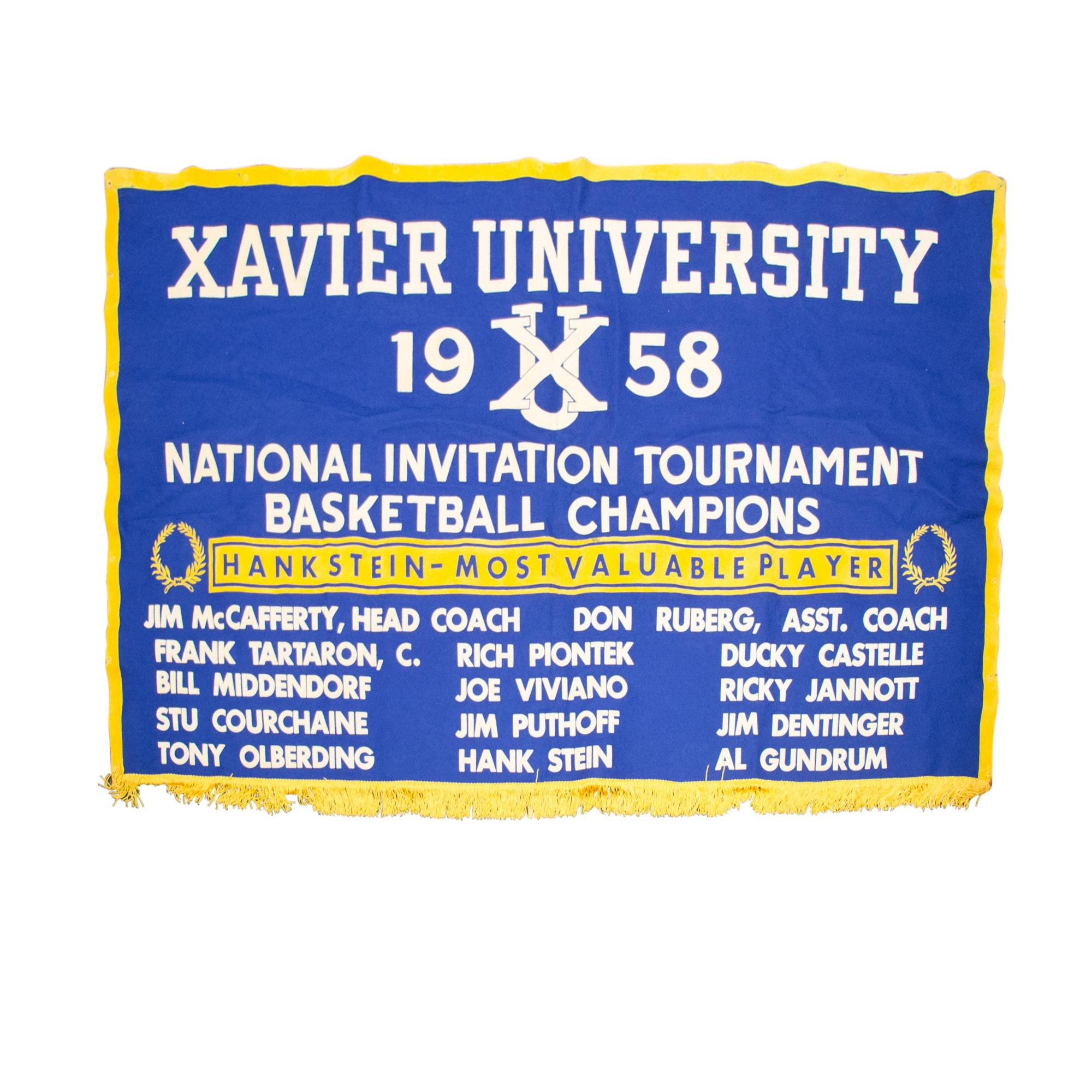 "Vintage Xavier 1958 ""NIT"" Basketball Championship Tournament Banner"