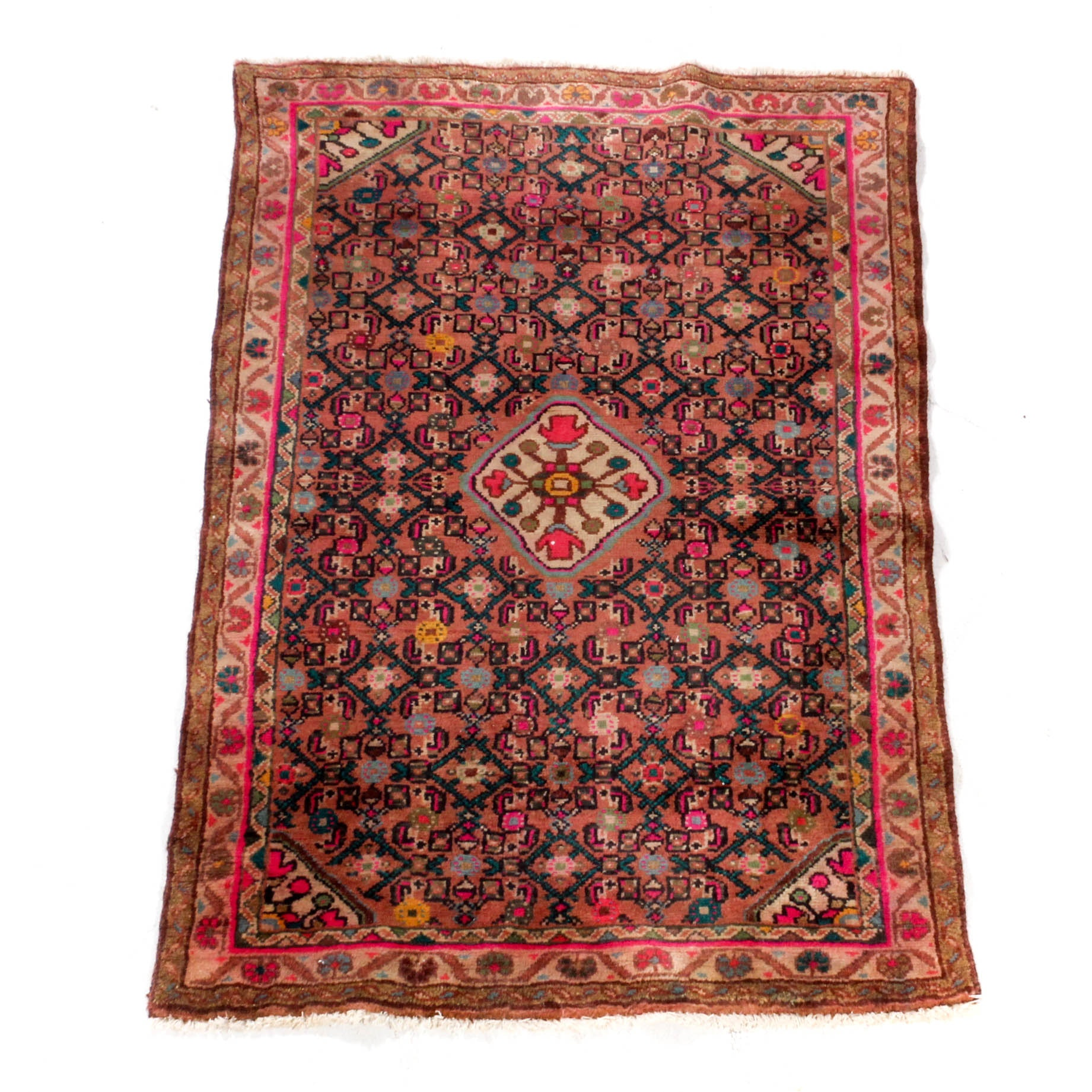 Semi-Antique Hand-Knotted Persian Lilihan Sarouk Rug