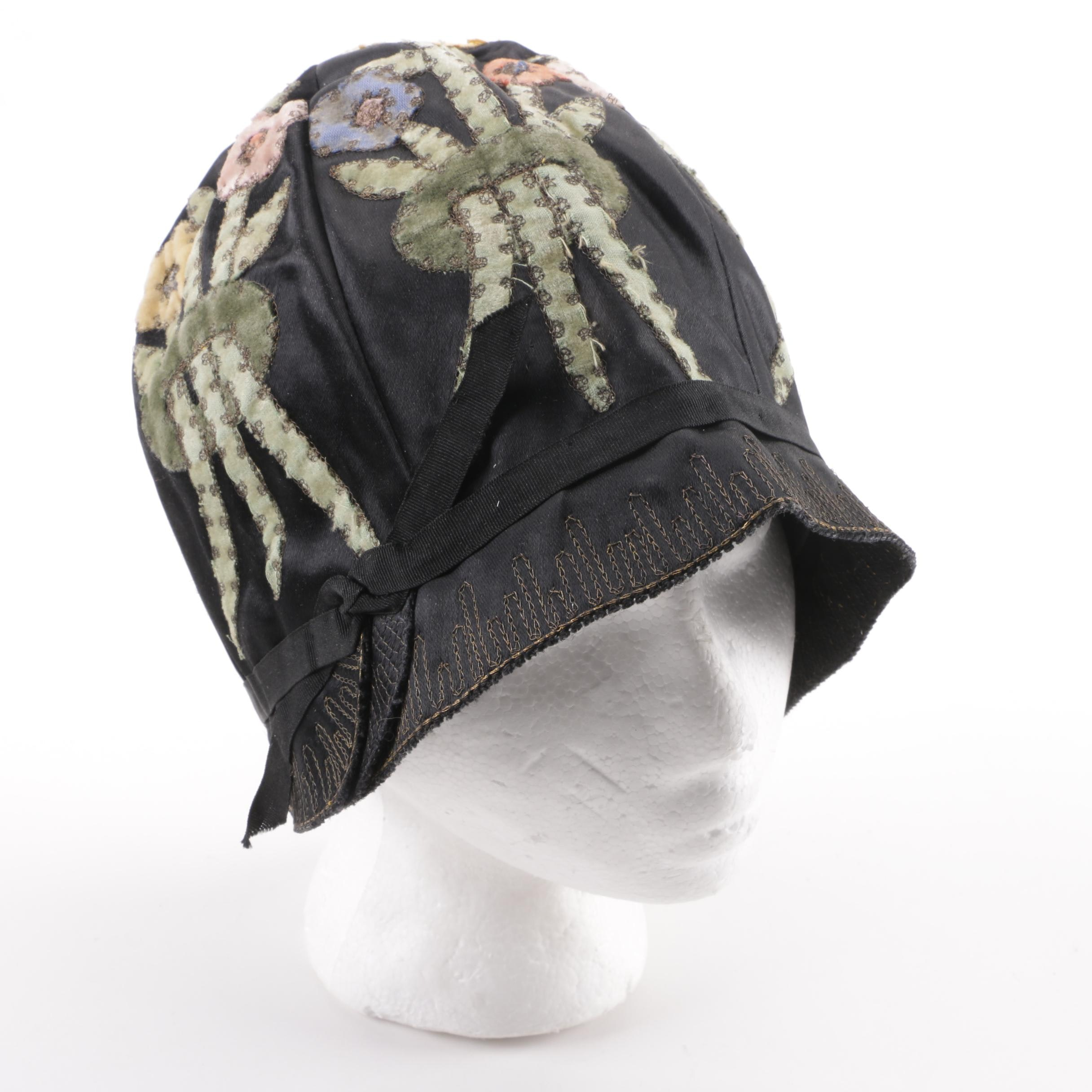 1920s Vintage Art Deco Cameo & Co. Hats Silk and Velvet Cloche with Florals