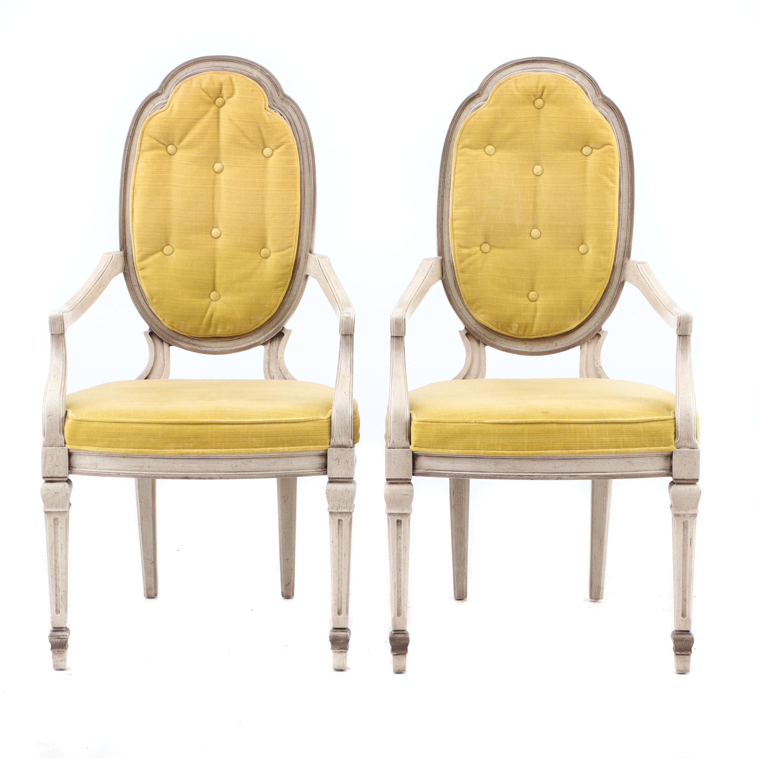 Heritage Louis XVI Style Chenille and Cane Armchairs
