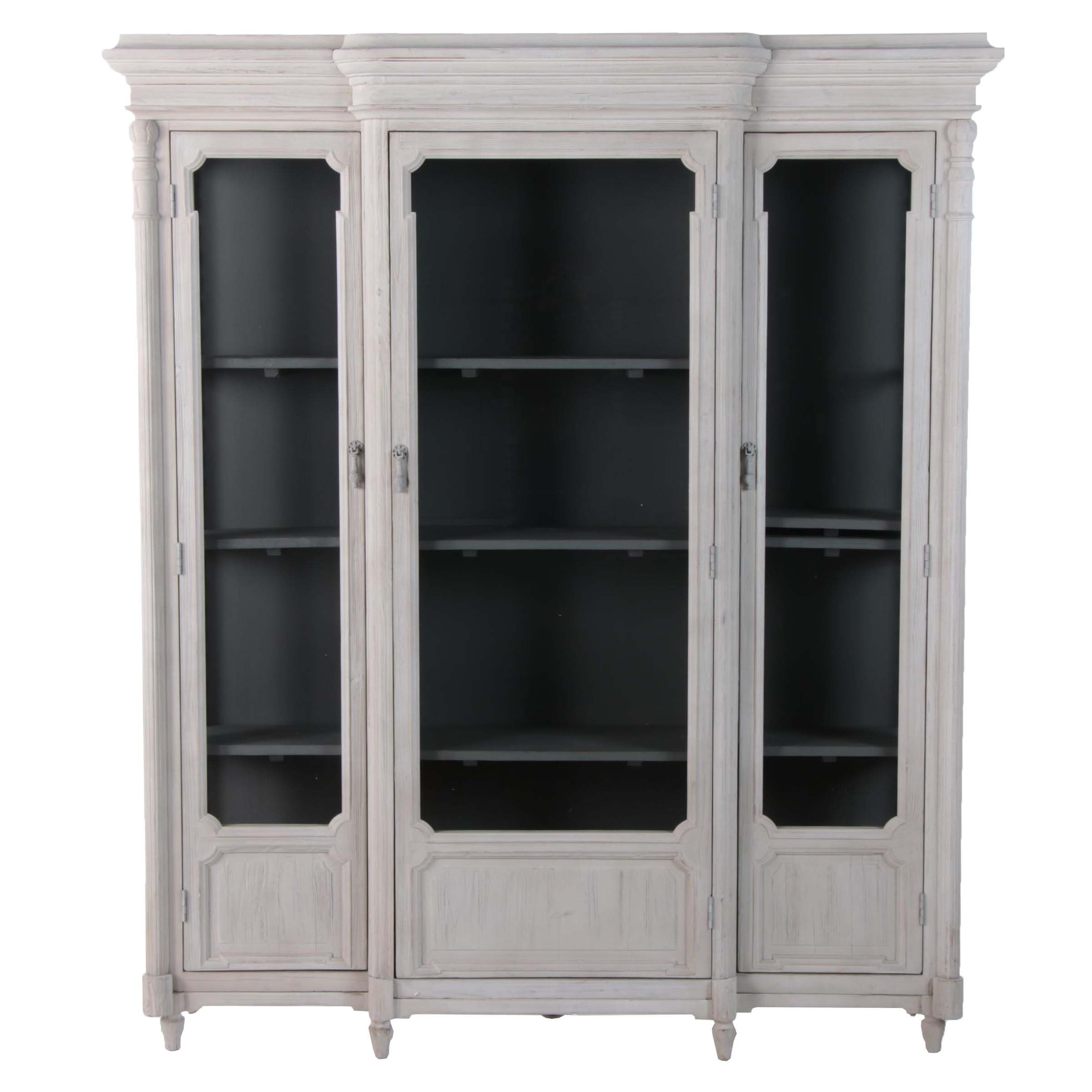 "French Provincial Style ""Chantilly"" Painted Breakfront Display Cabinet, 21st C."