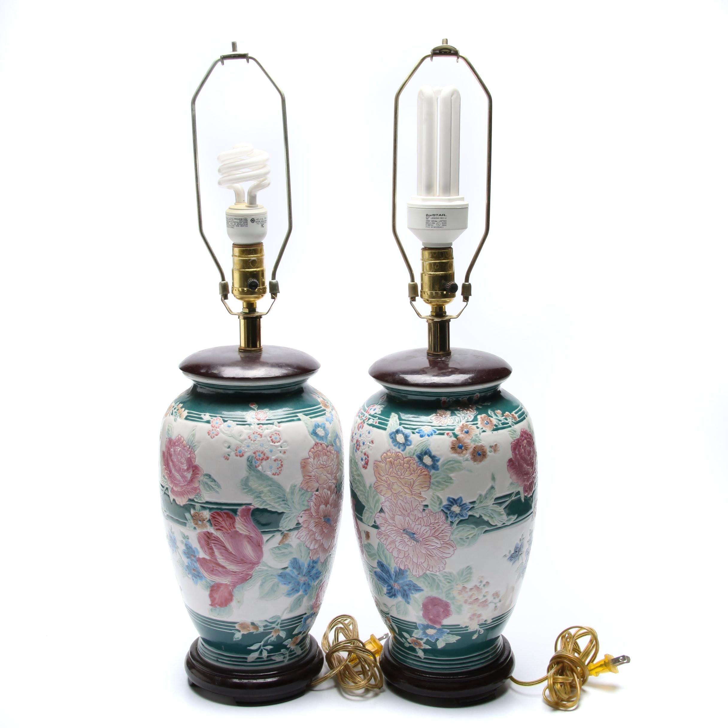Pairing of Hand Decorated Ceramic Urn Lamps