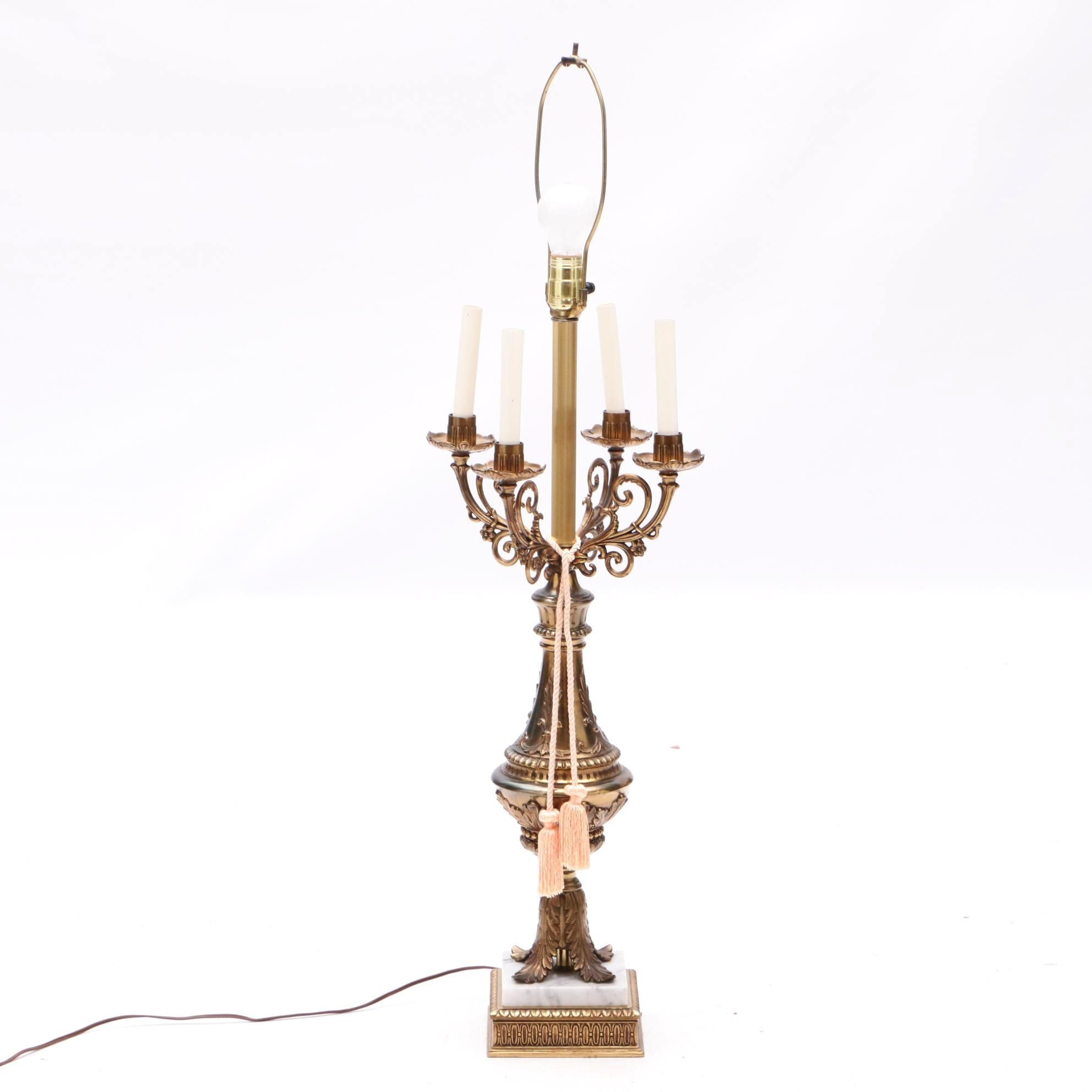 Neoclassical Style Iron and Marble Table Lamp