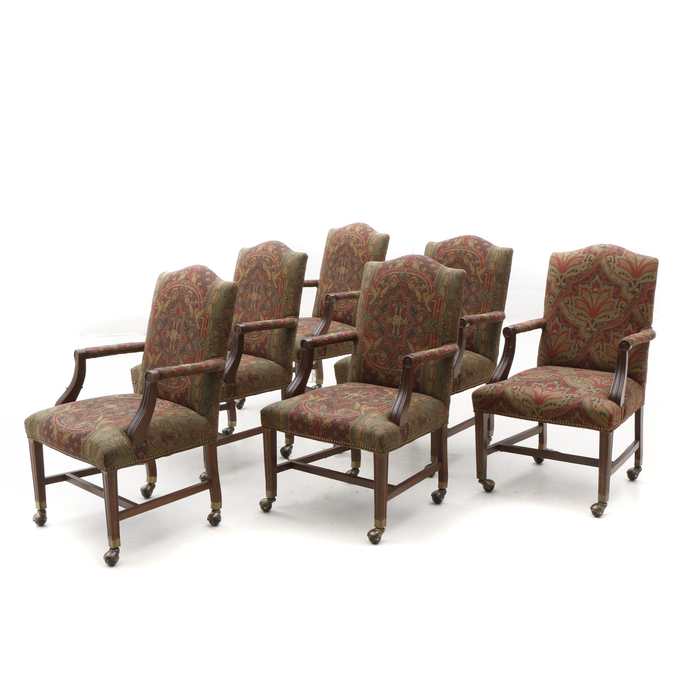 Upholstered Mahogany Armchairs with Nailhead Trim