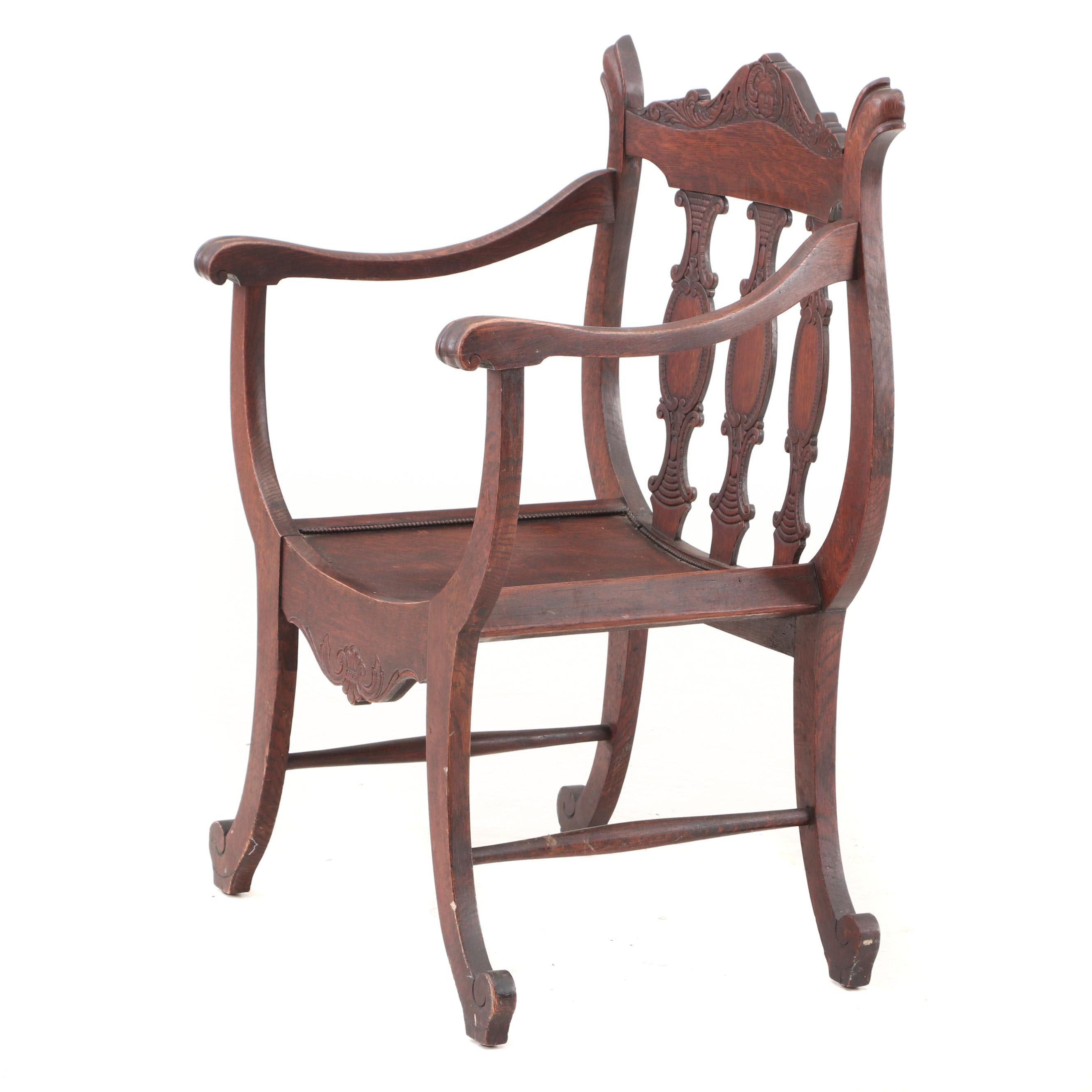 Oak Curule Chair