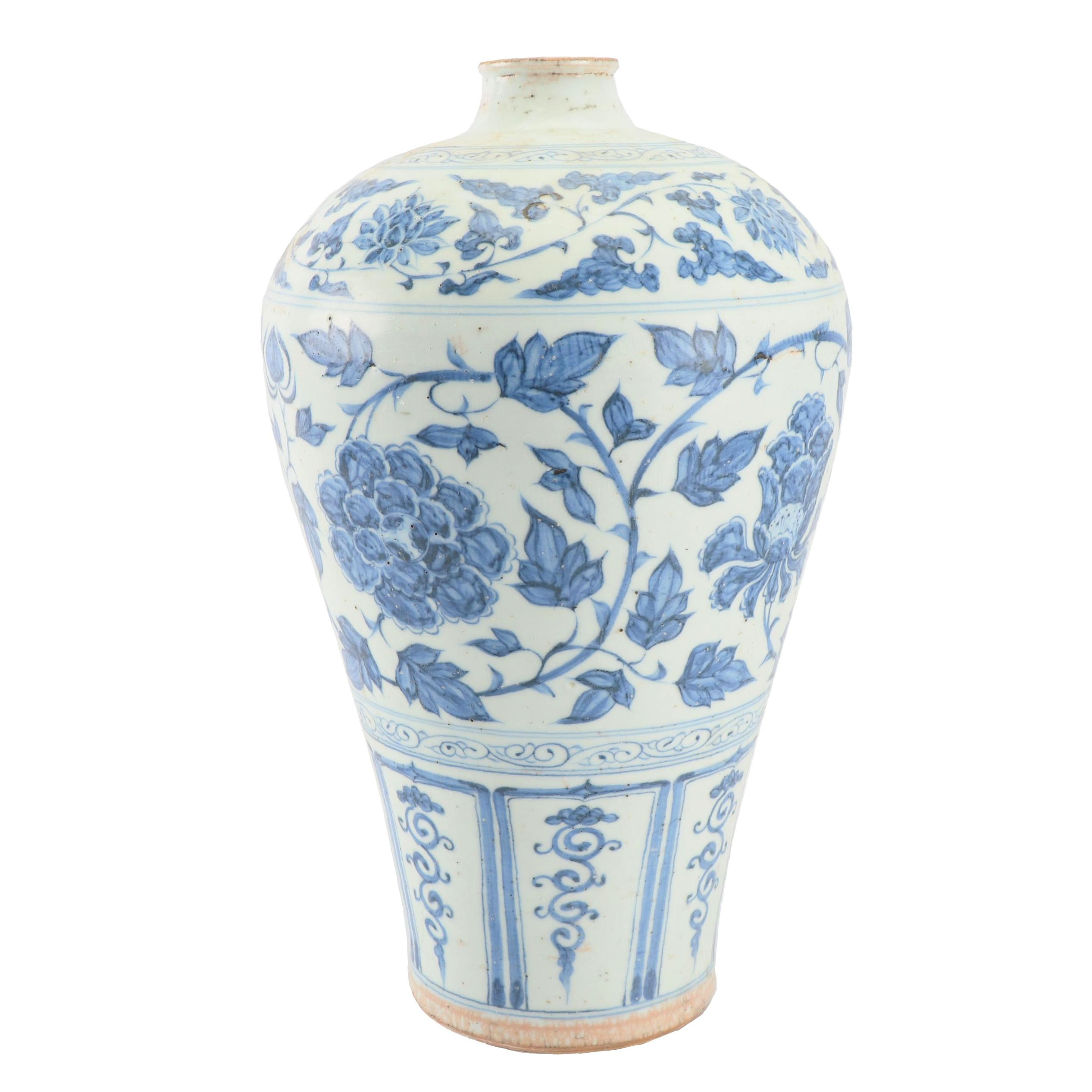 Chinese Hand-Painted Blue and White Earthenware Vase