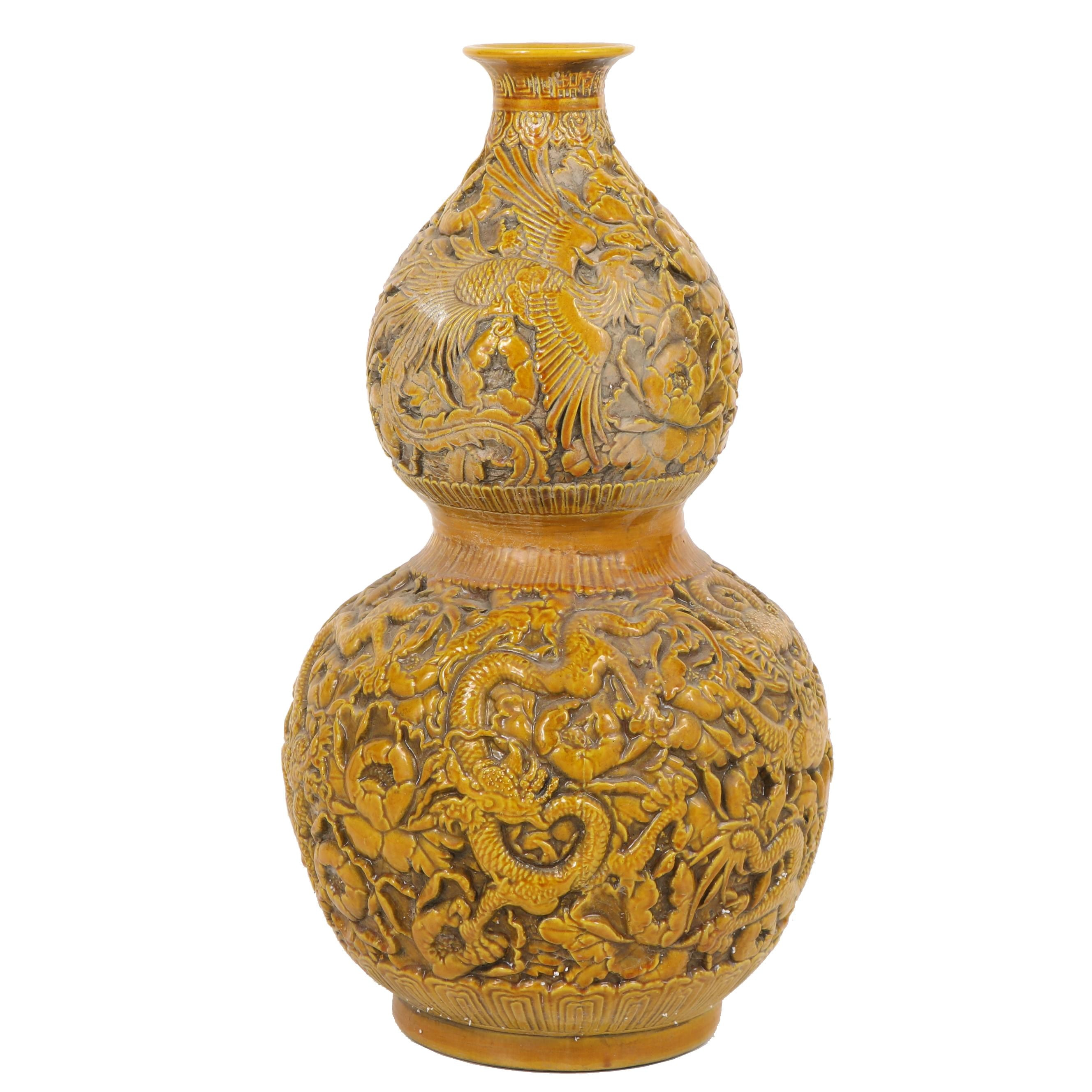 Chinese Ceramic Gourd Floor Vase with Dragon and Phoenix Relief Designs