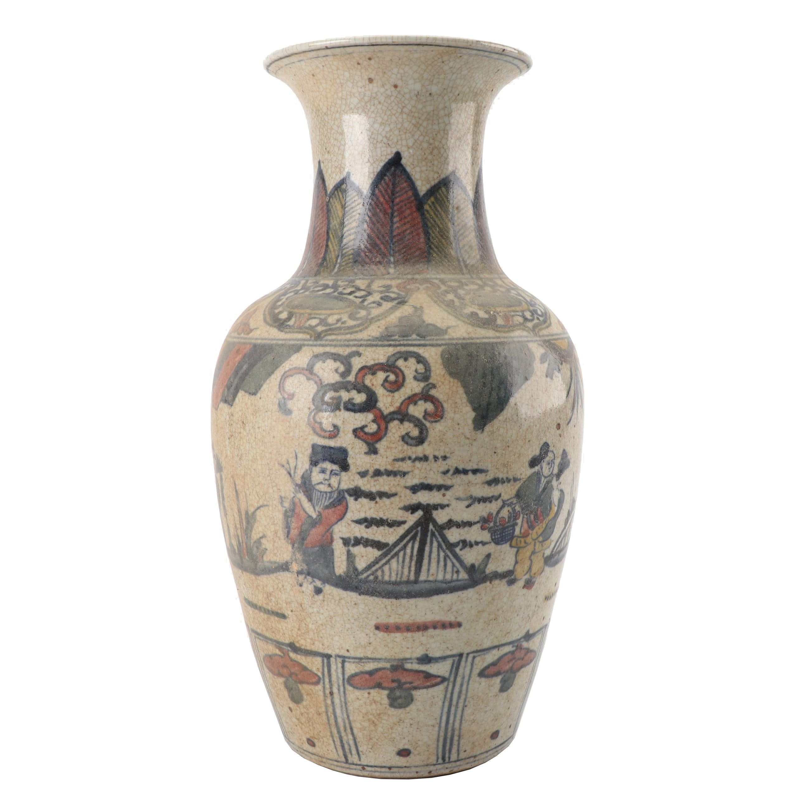 Chinese Hand-Painted Pictorial Earthenware Vase