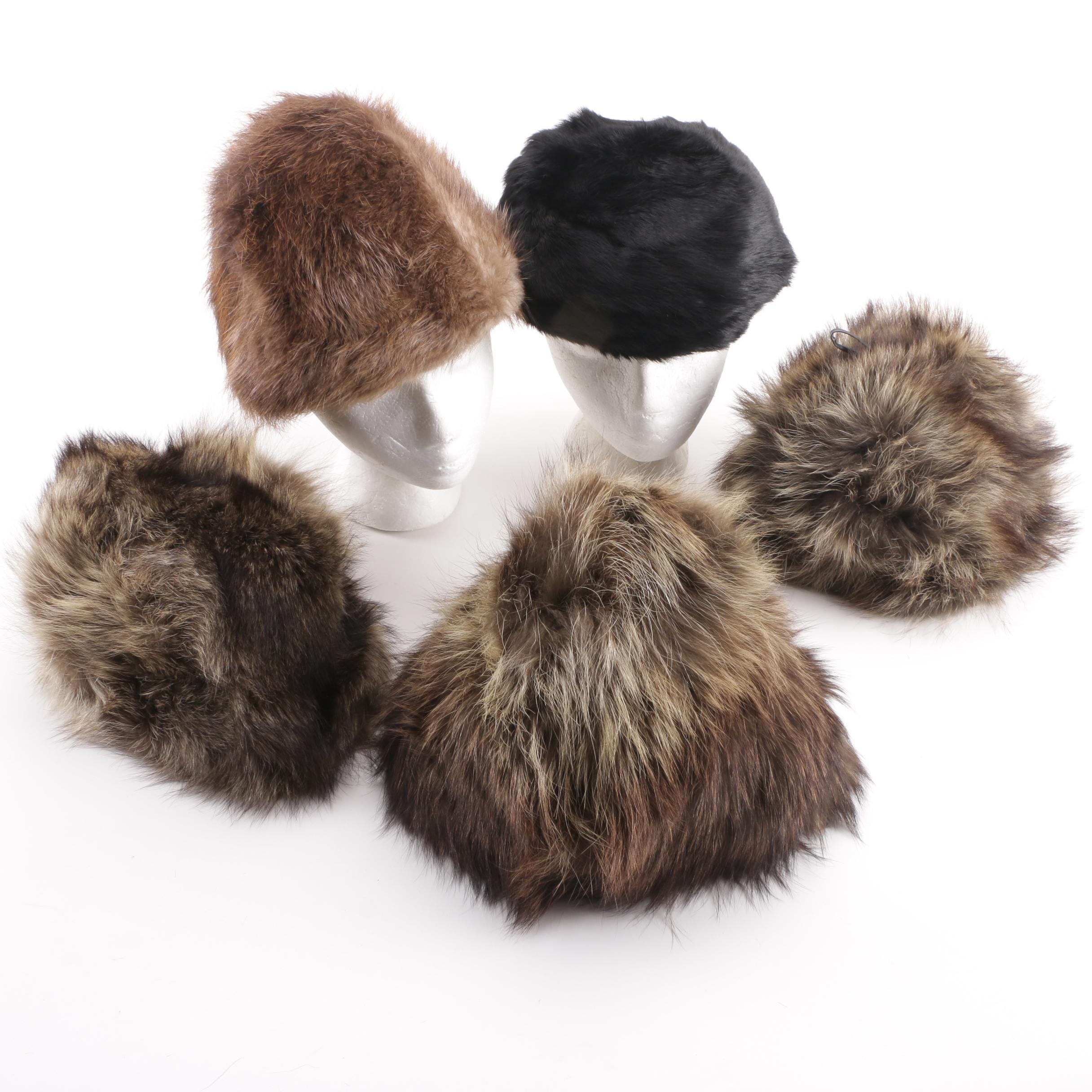Raccoon Fur, Rabbit Fur and Dyed Beaver Fur Hats, 1960s
