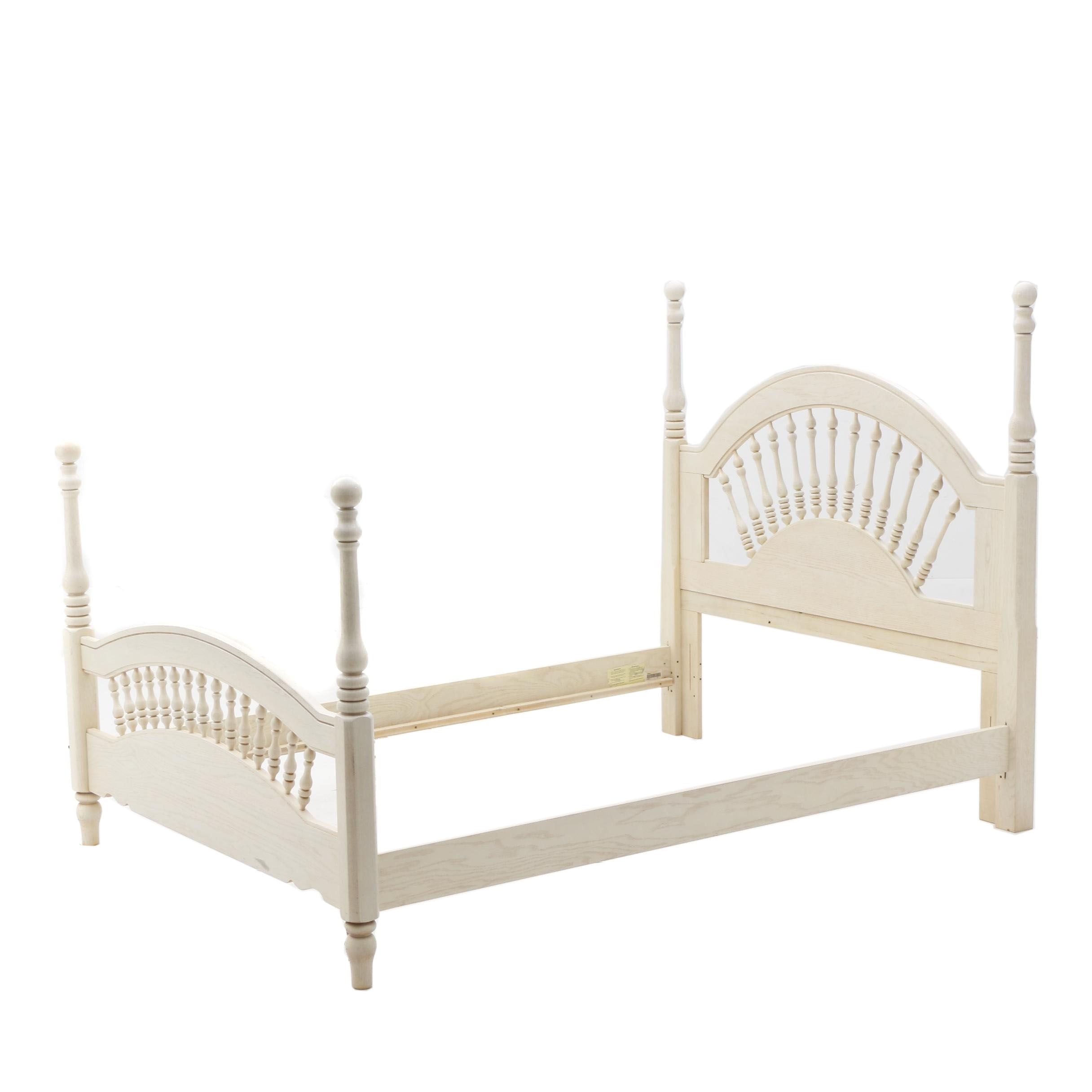 Lexington Queen Size Bed Frame in Antiqued White Finish