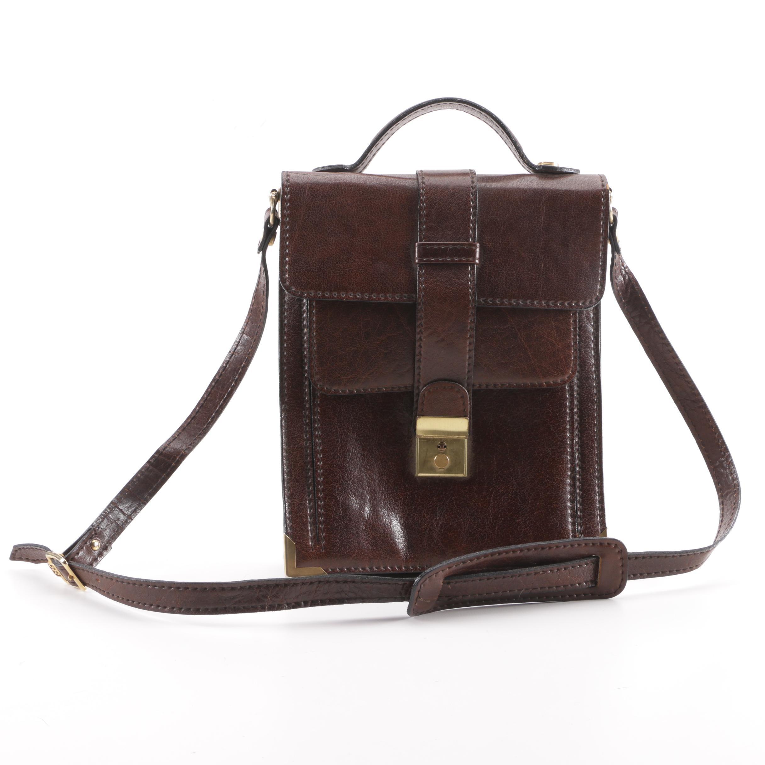 Circa 1970s Vintage RR Brown Leather Flap Front Handbag