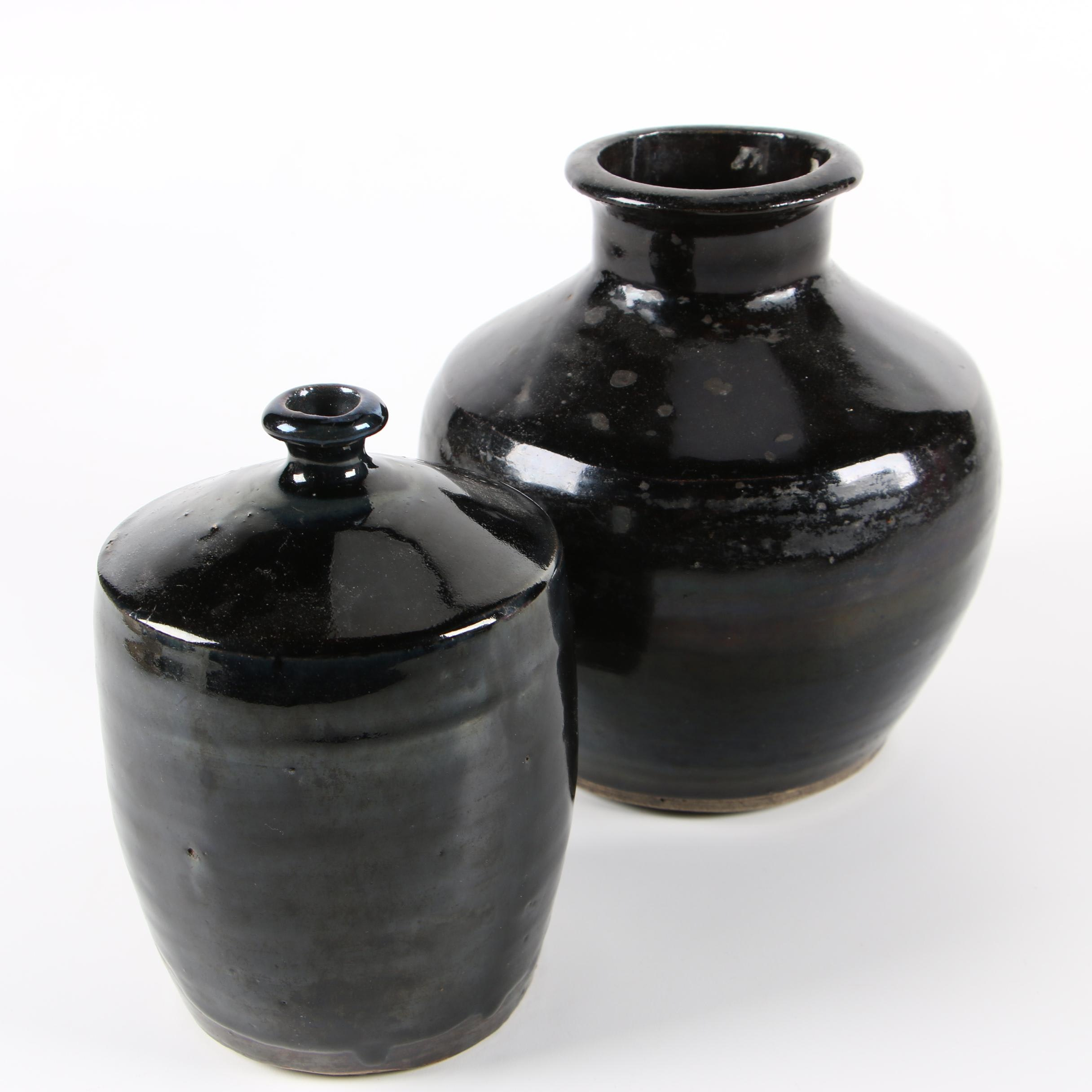 East Asian Black Glazed Pottery Vases