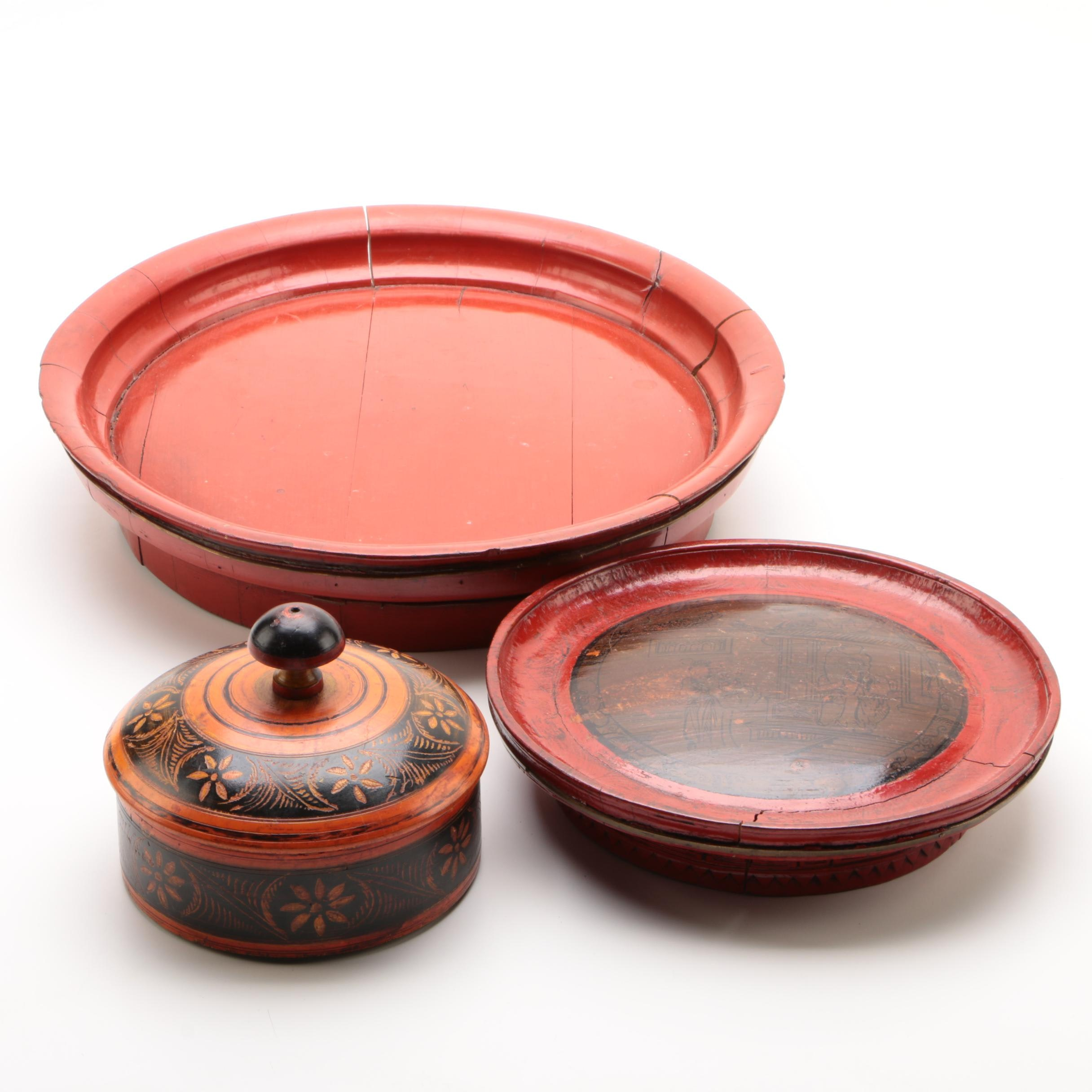 East Asian Painted Wooden Serveware and Lidded Box