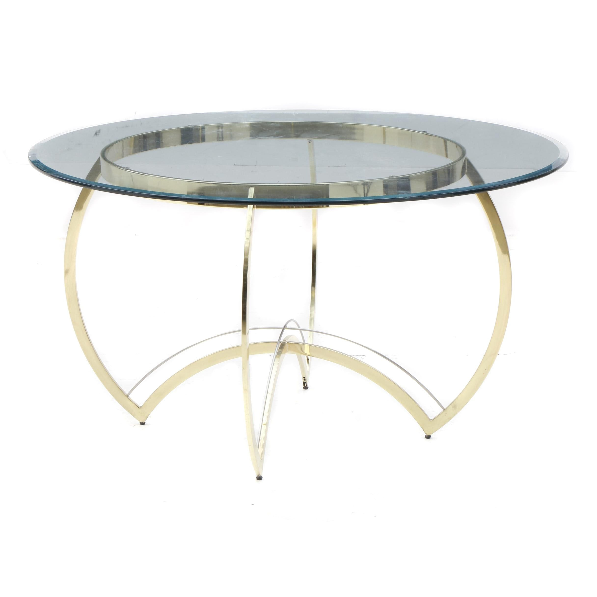 Contemporary Glass Top with Brass Base Round Dining Table